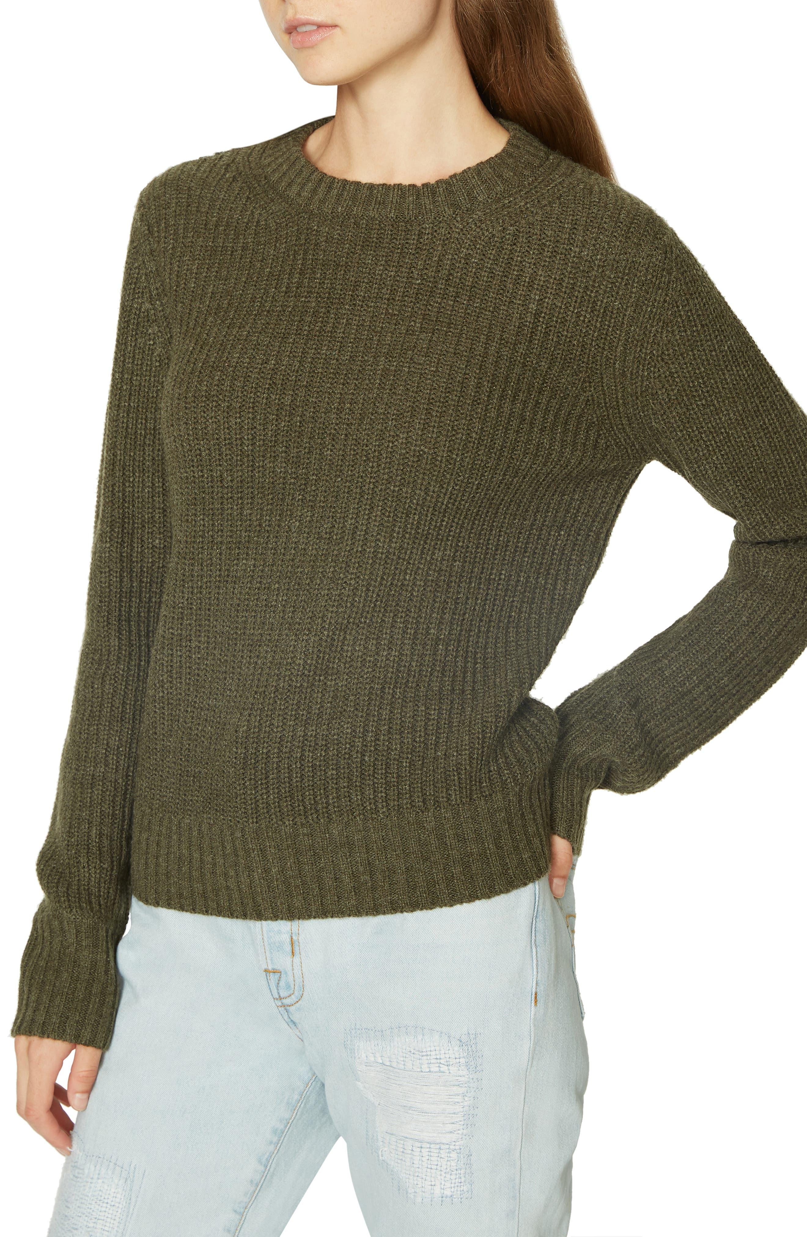 Open Back Sweater,                             Alternate thumbnail 3, color,                             HEATHER PROSPERITY GREEN