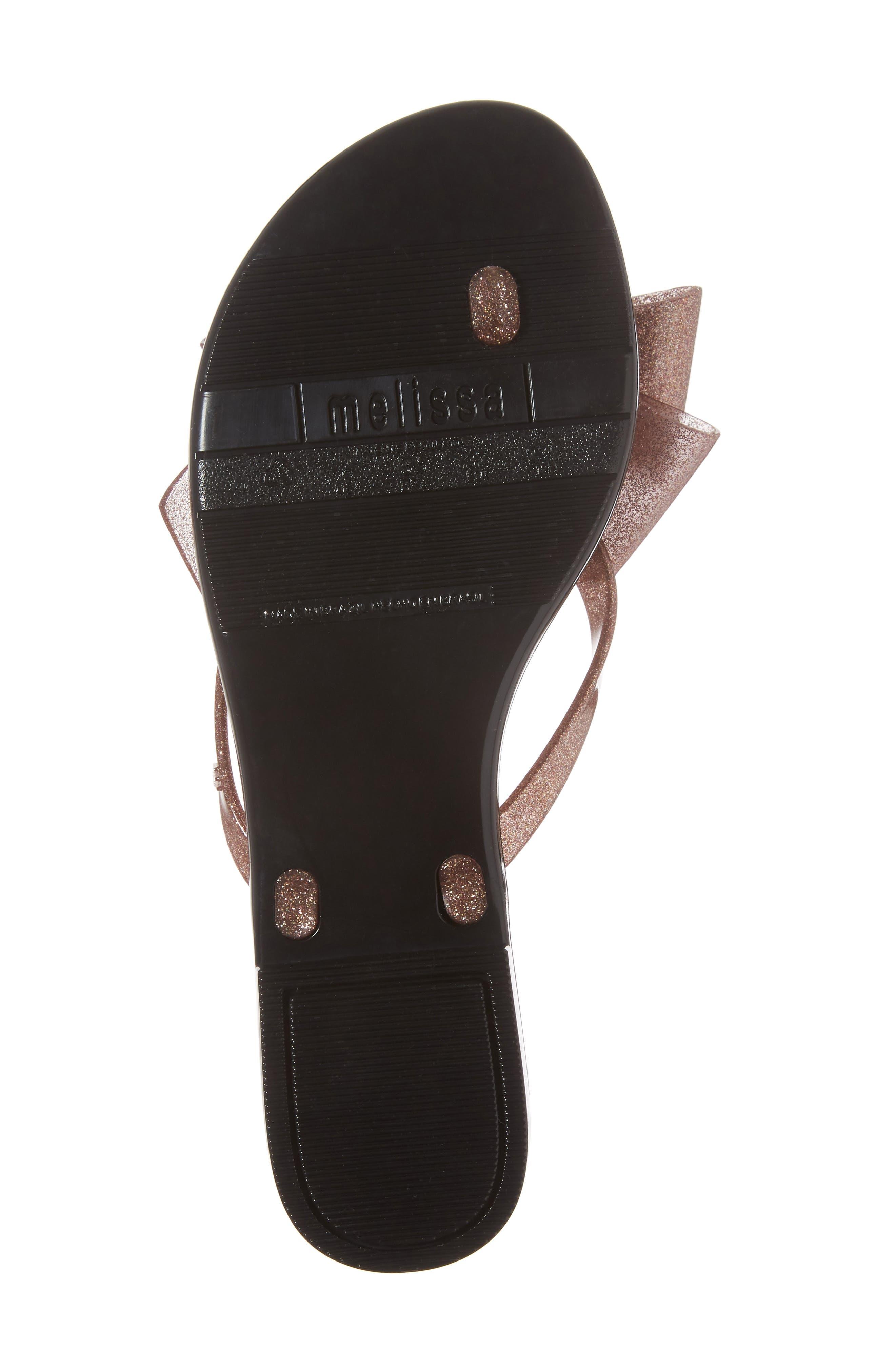 MELISSA,                             Harmonic Bow III Flip Flop,                             Alternate thumbnail 6, color,                             BLACK ROSE GLITTER