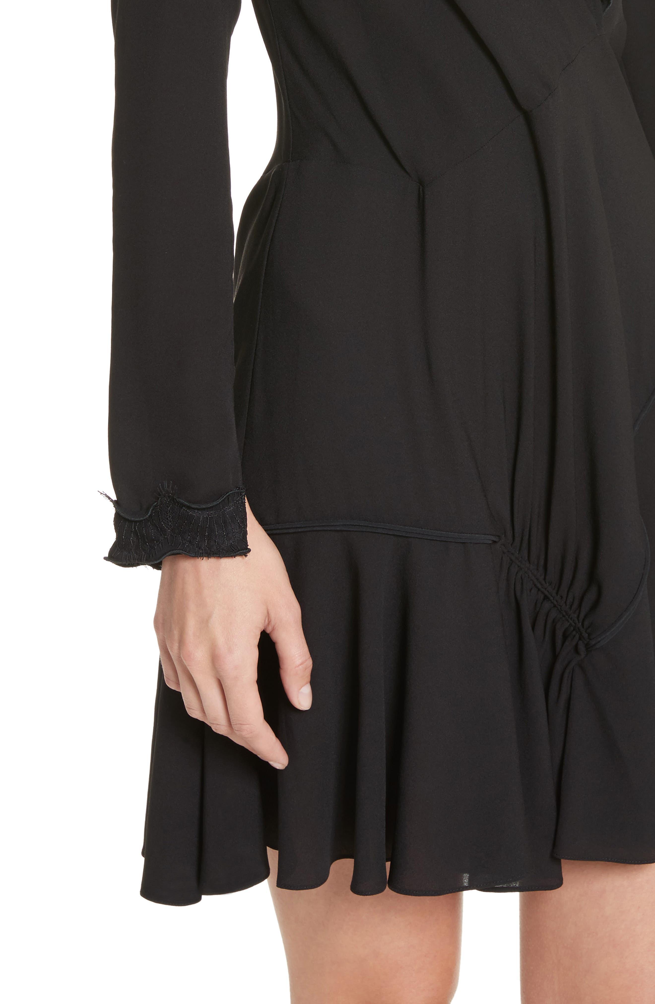 Ruffle Edge Silk Dress,                             Alternate thumbnail 4, color,                             001