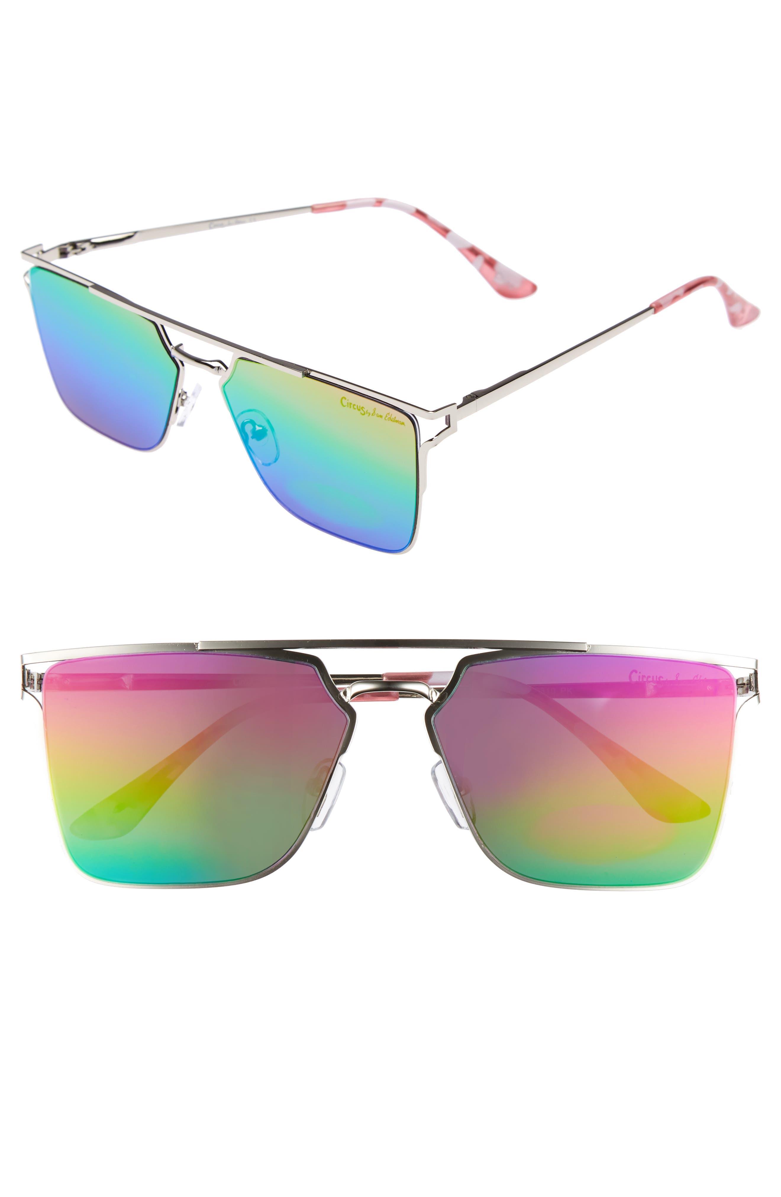 56mm Flat Top Sunglasses,                             Main thumbnail 3, color,
