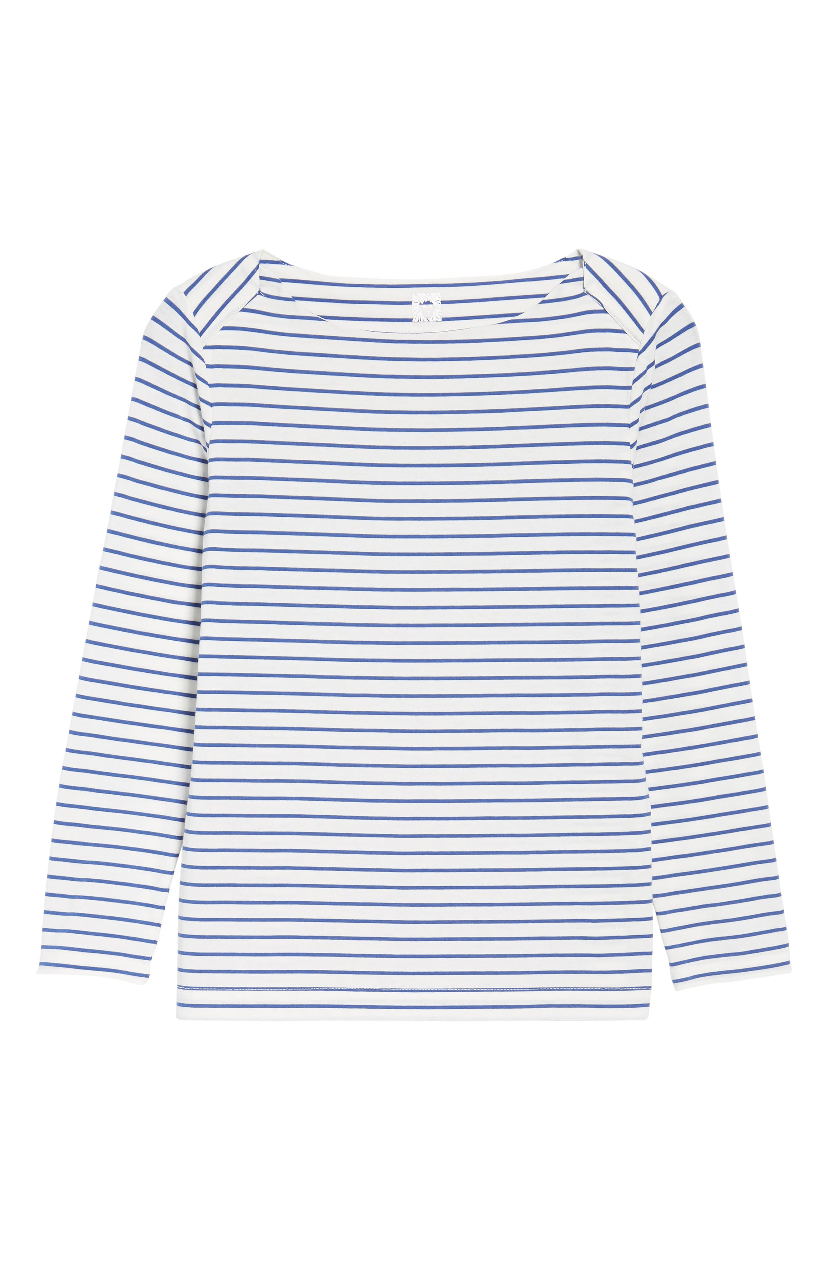 Stripe Knit Boatneck Top,                             Alternate thumbnail 6, color,                             100