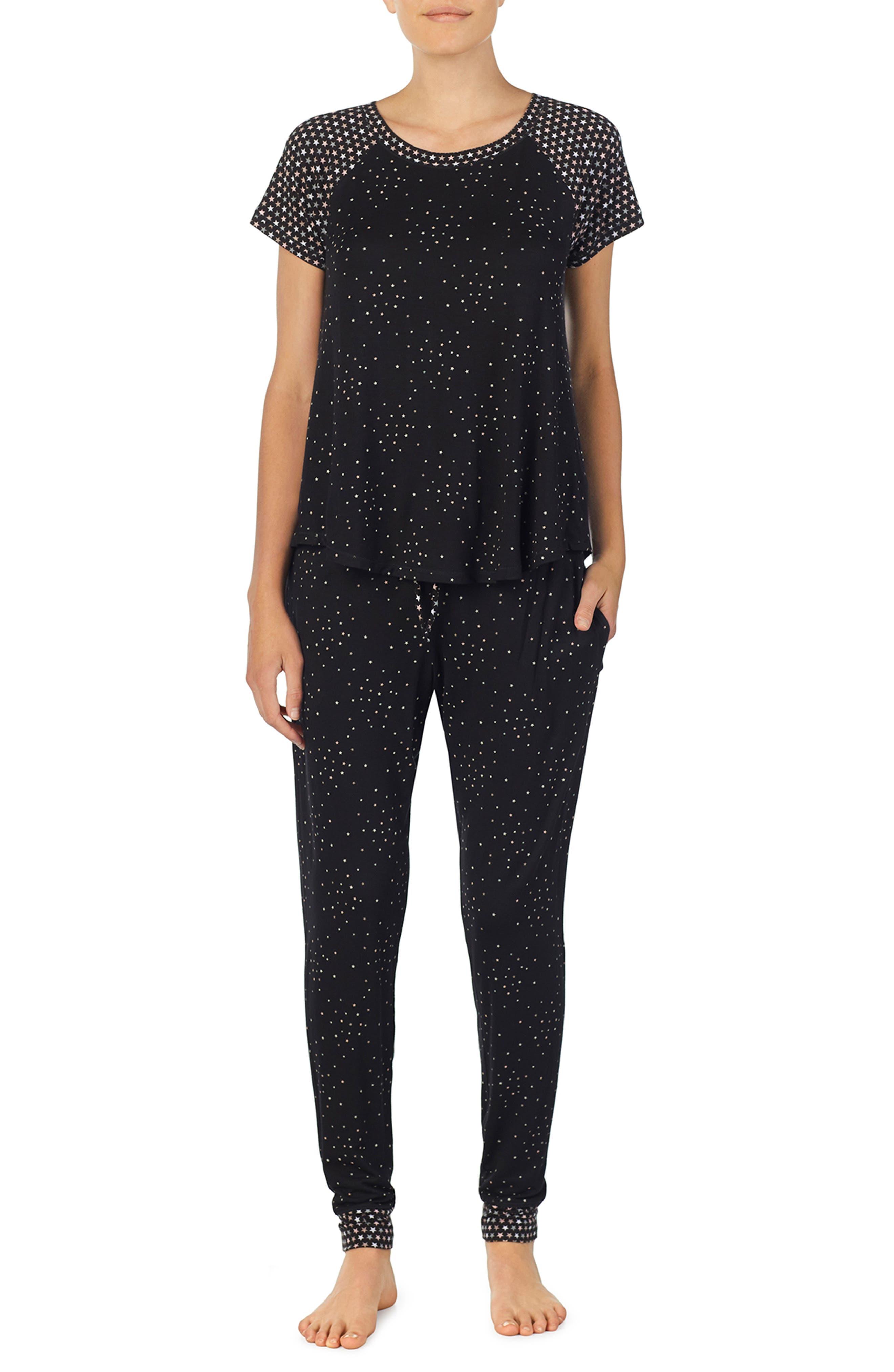 Jersey Pajamas,                             Main thumbnail 1, color,                             BLACK PRT
