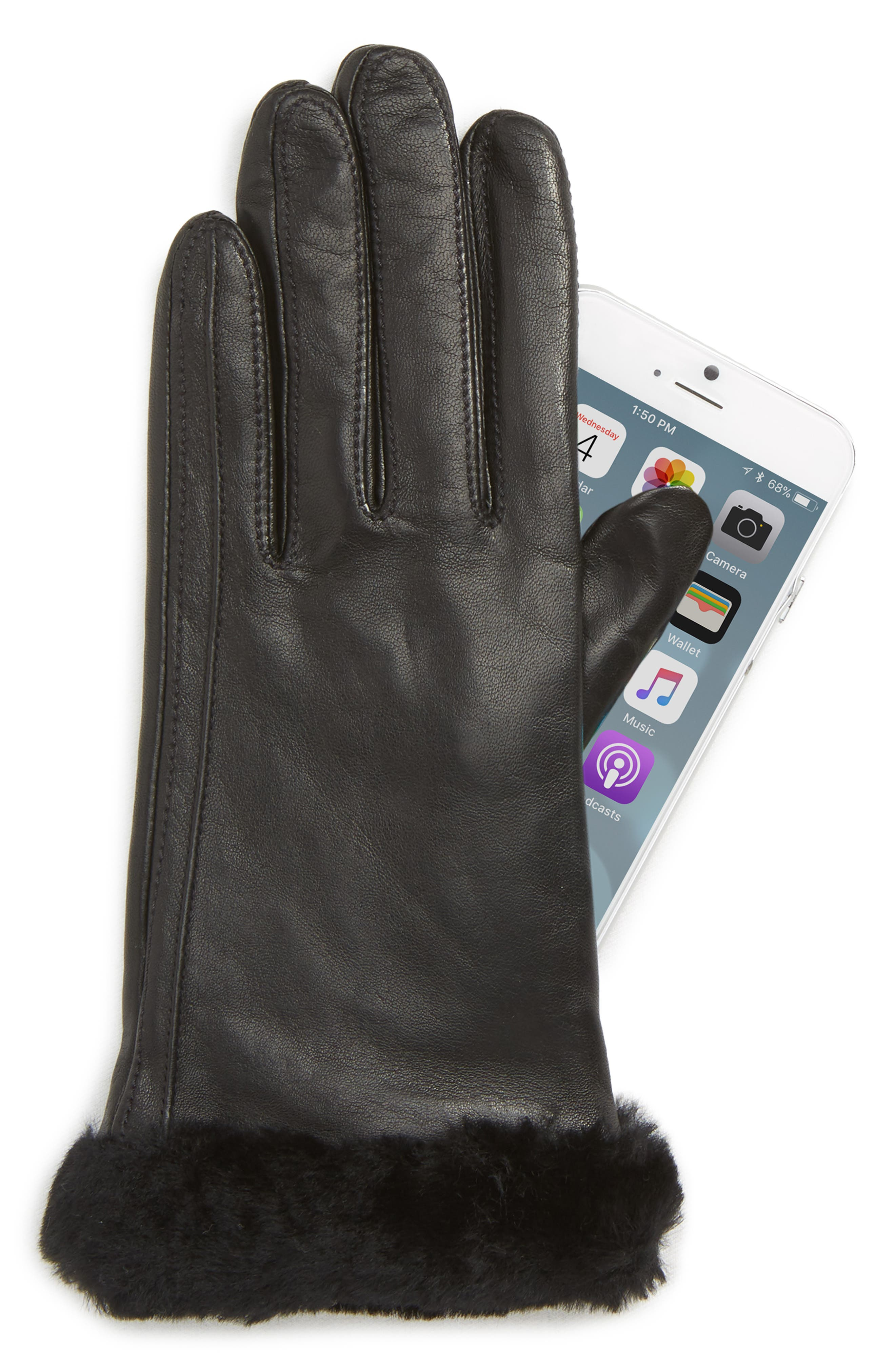 Touchscreen Compatible Leather Gloves with Genuine Shearling Trim,                             Alternate thumbnail 2, color,                             BLACK