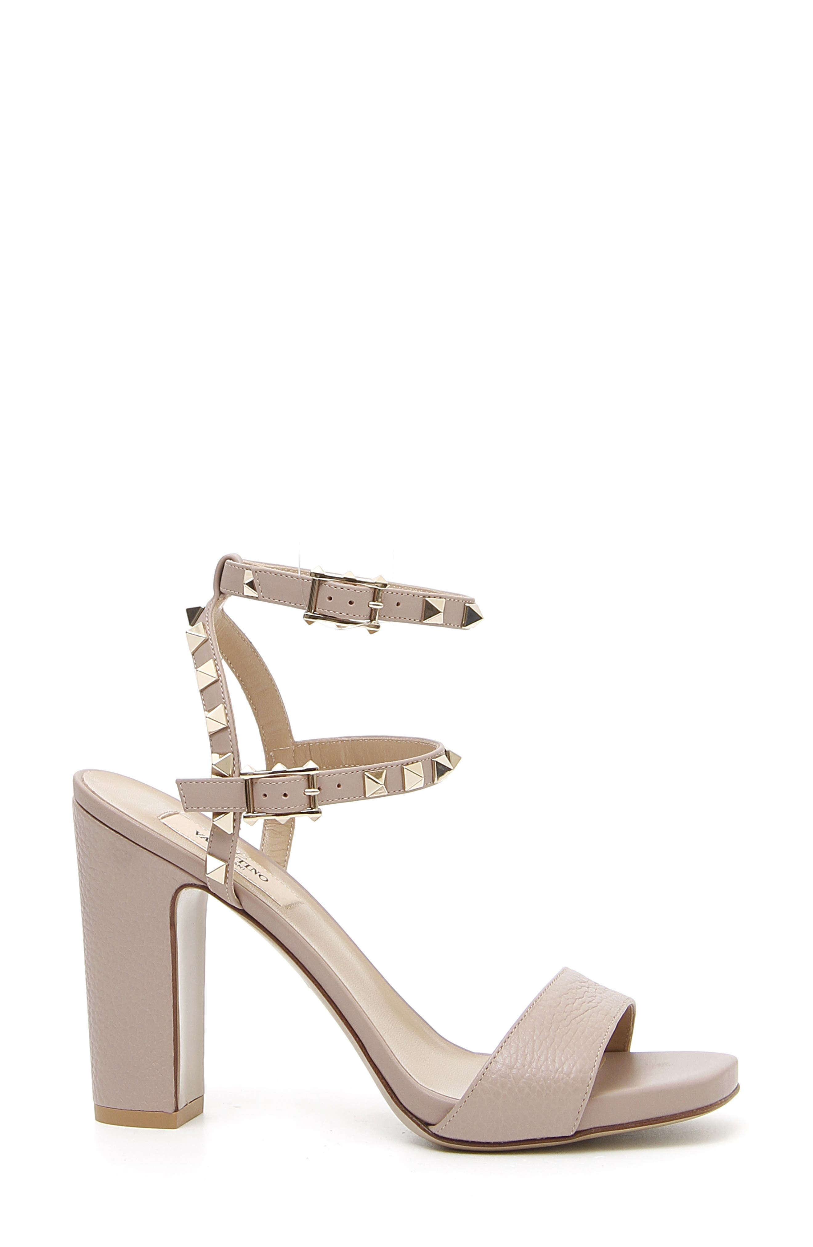 Rockstud Ankle Strap Sandal,                         Main,                         color, POUDRE