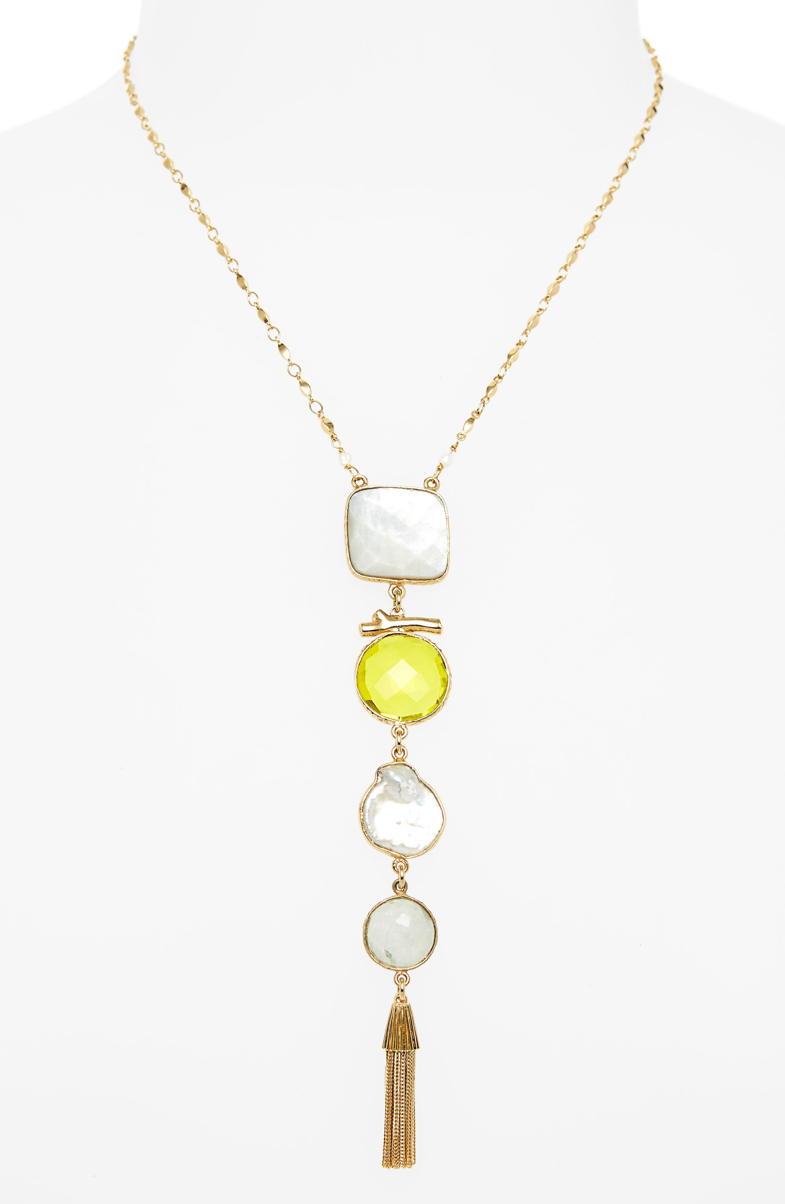 Poeme Y-Necklace,                             Main thumbnail 1, color,                             YELLOW