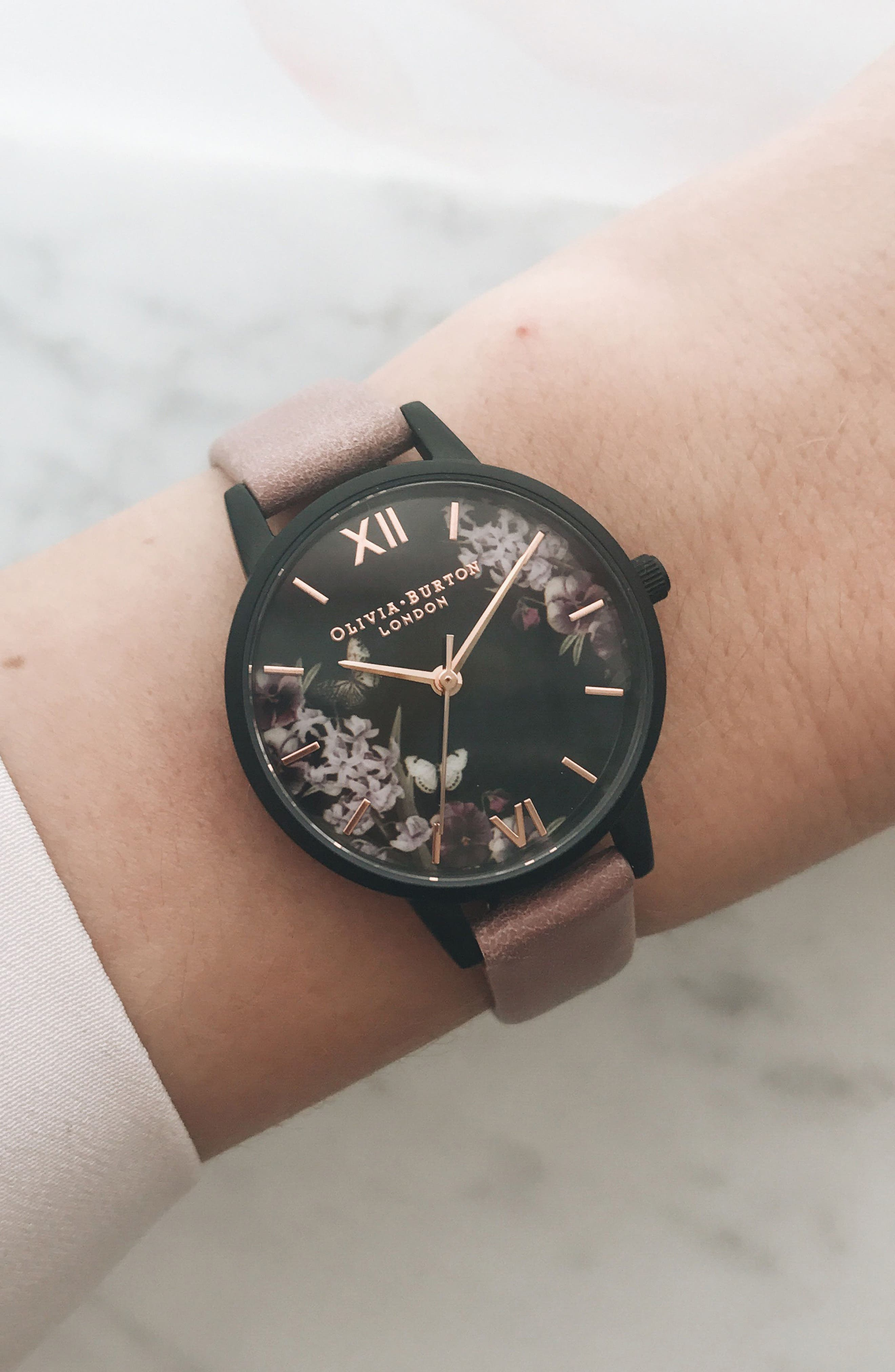 After Dark Leather Strap Watch, 30mm,                             Alternate thumbnail 4, color,                             DUSTY ROSE/ FLORAL/ BLACK