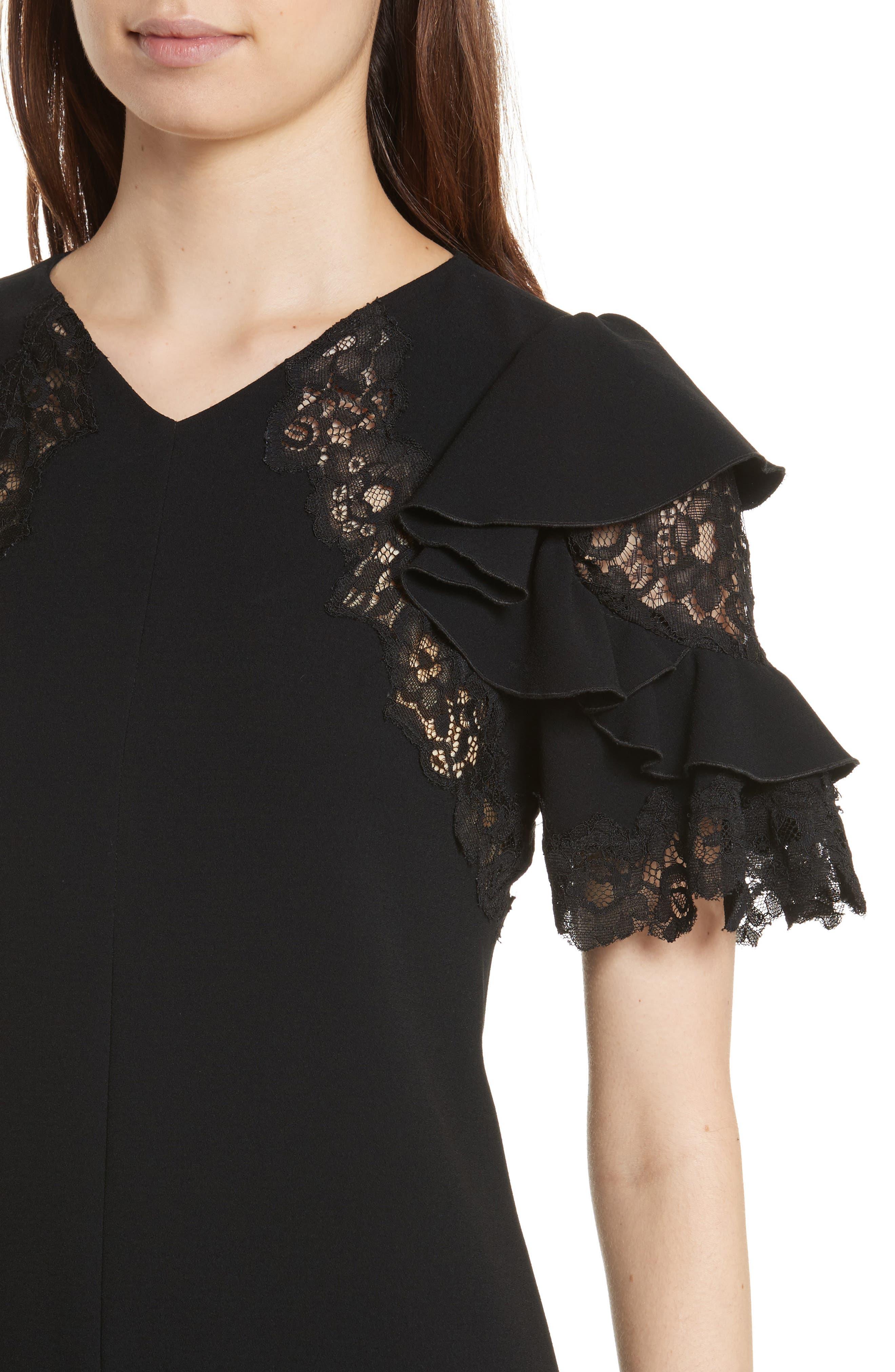 Ruffle Sleeve Lace Sheath Dress,                             Alternate thumbnail 4, color,