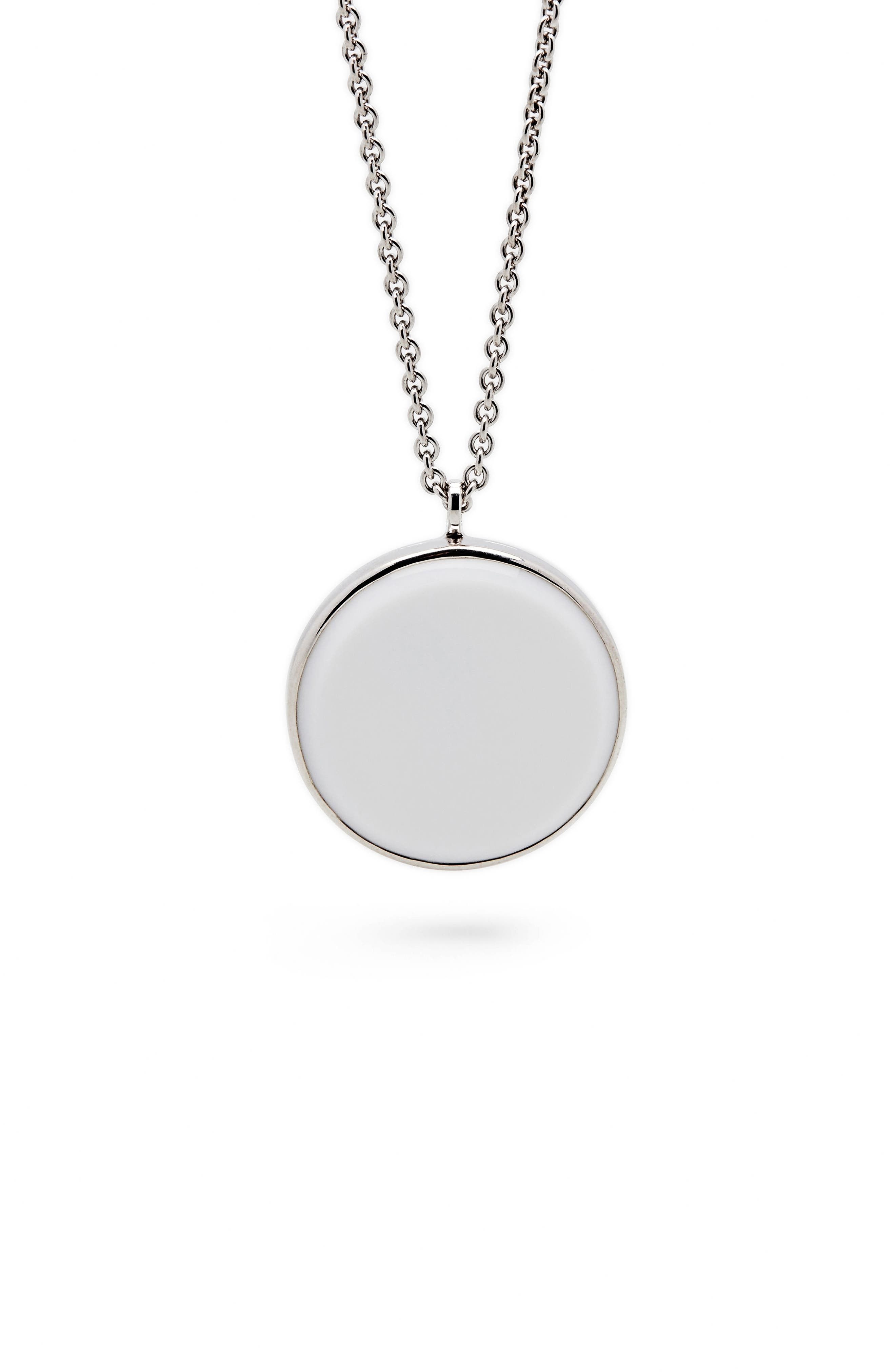 White Agate Medallion Necklace,                             Main thumbnail 1, color,                             925 STERLING SILVER