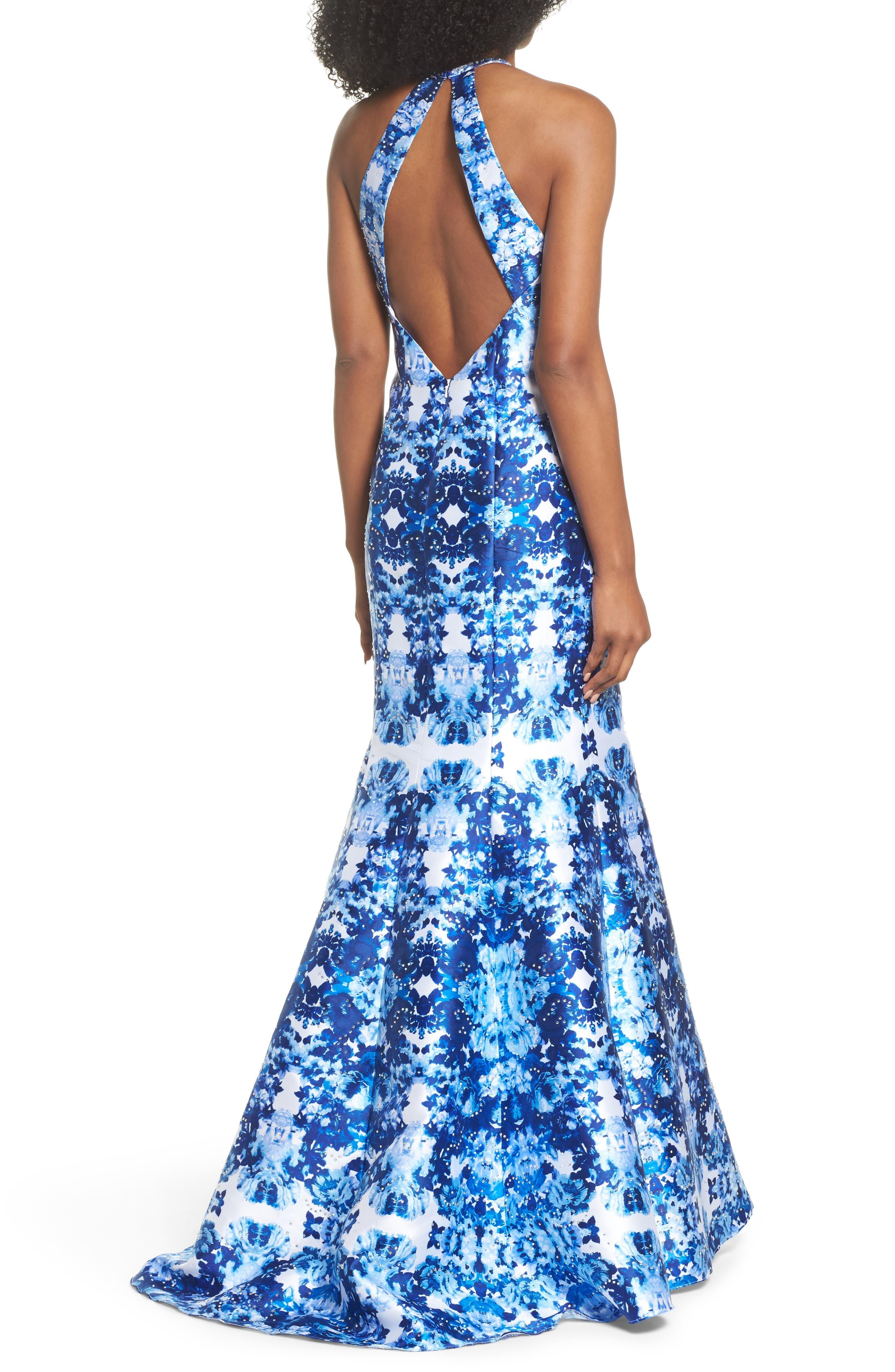 Mirror Pattern Halter Mermaid Gown,                             Alternate thumbnail 2, color,                             400