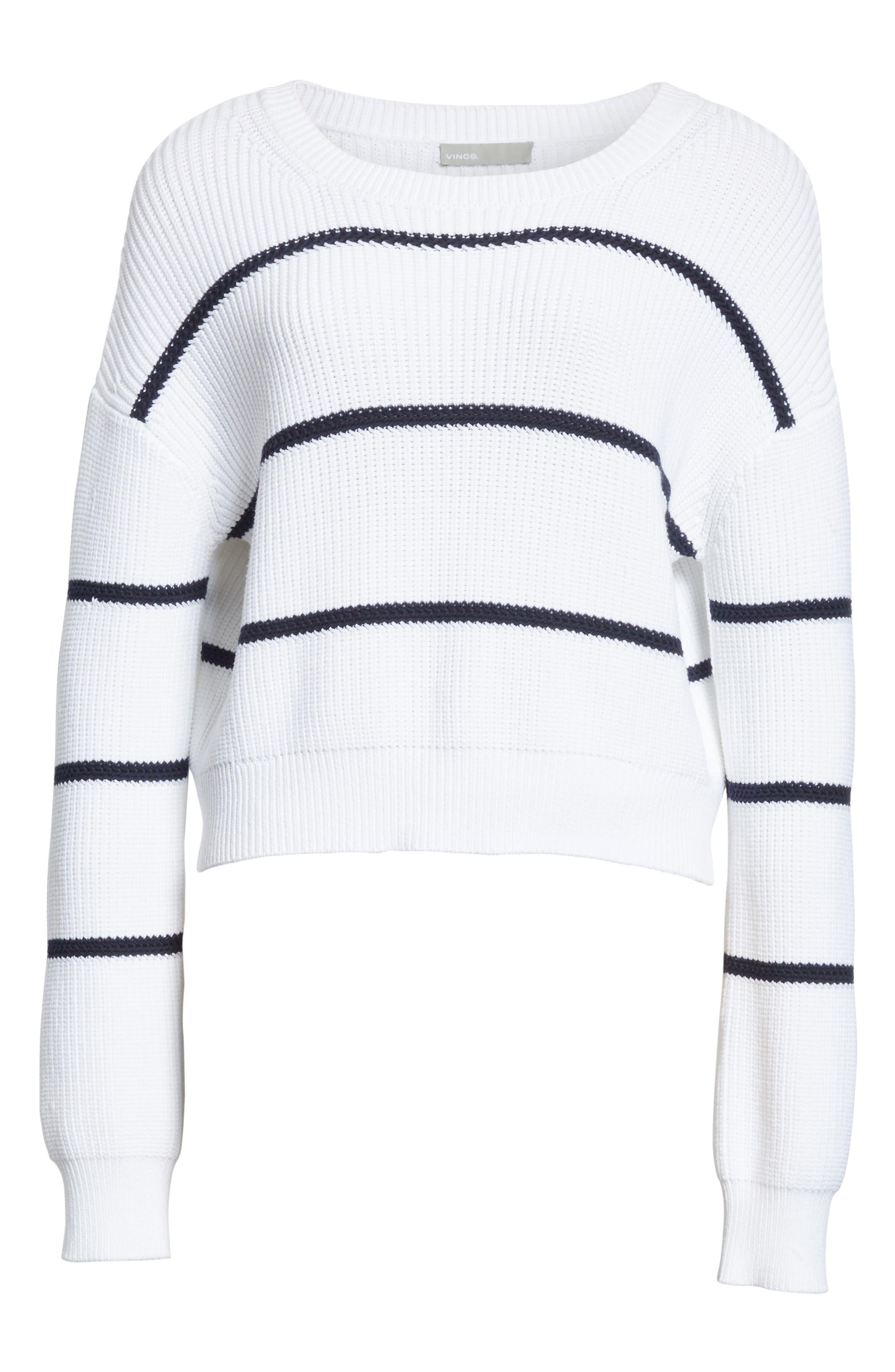 Cotton Blend Rib Knit Stripe Sweater,                             Alternate thumbnail 11, color,
