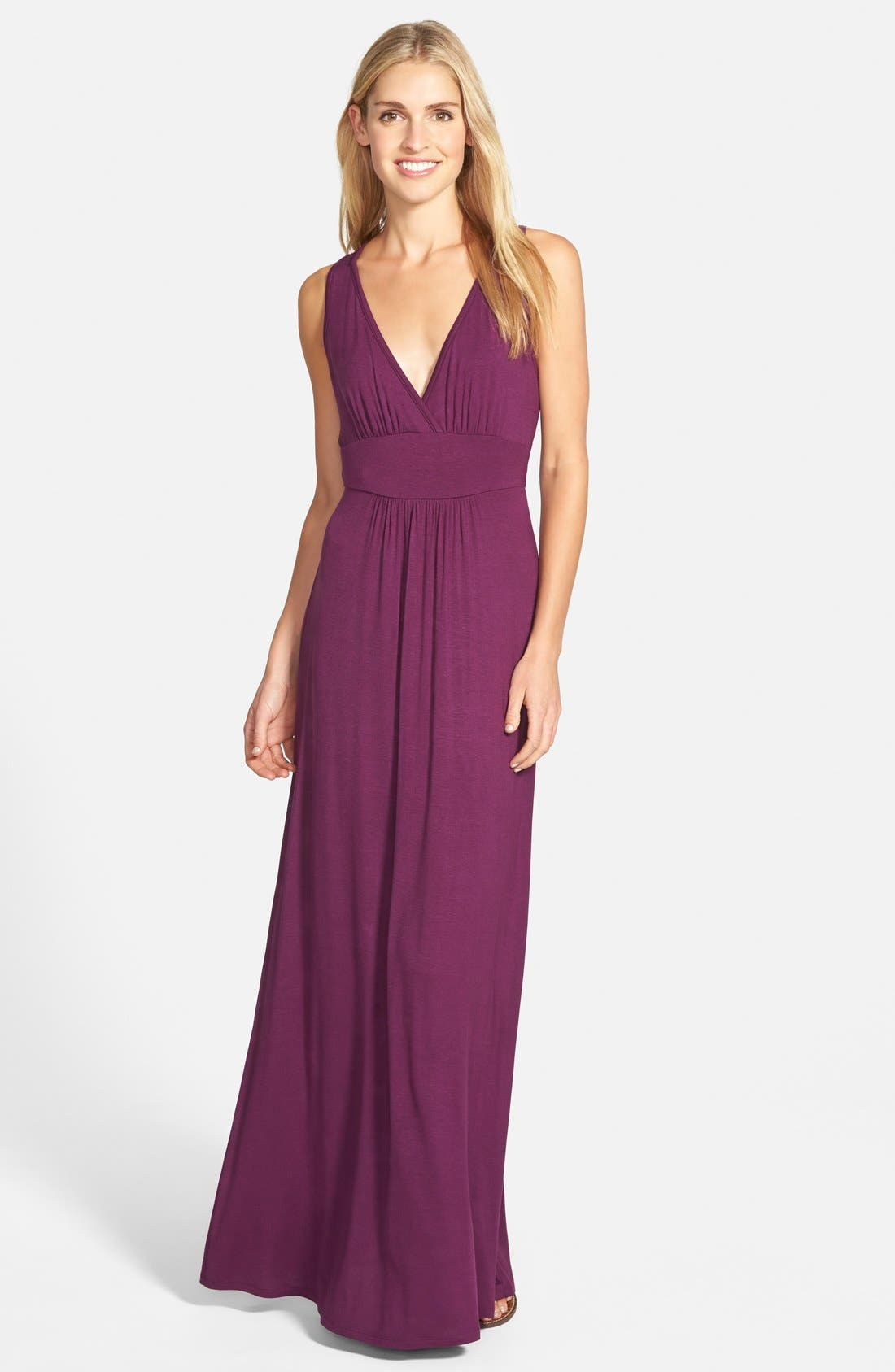 V-Neck Jersey Maxi Dress,                             Main thumbnail 1, color,                             PURPLE DARK