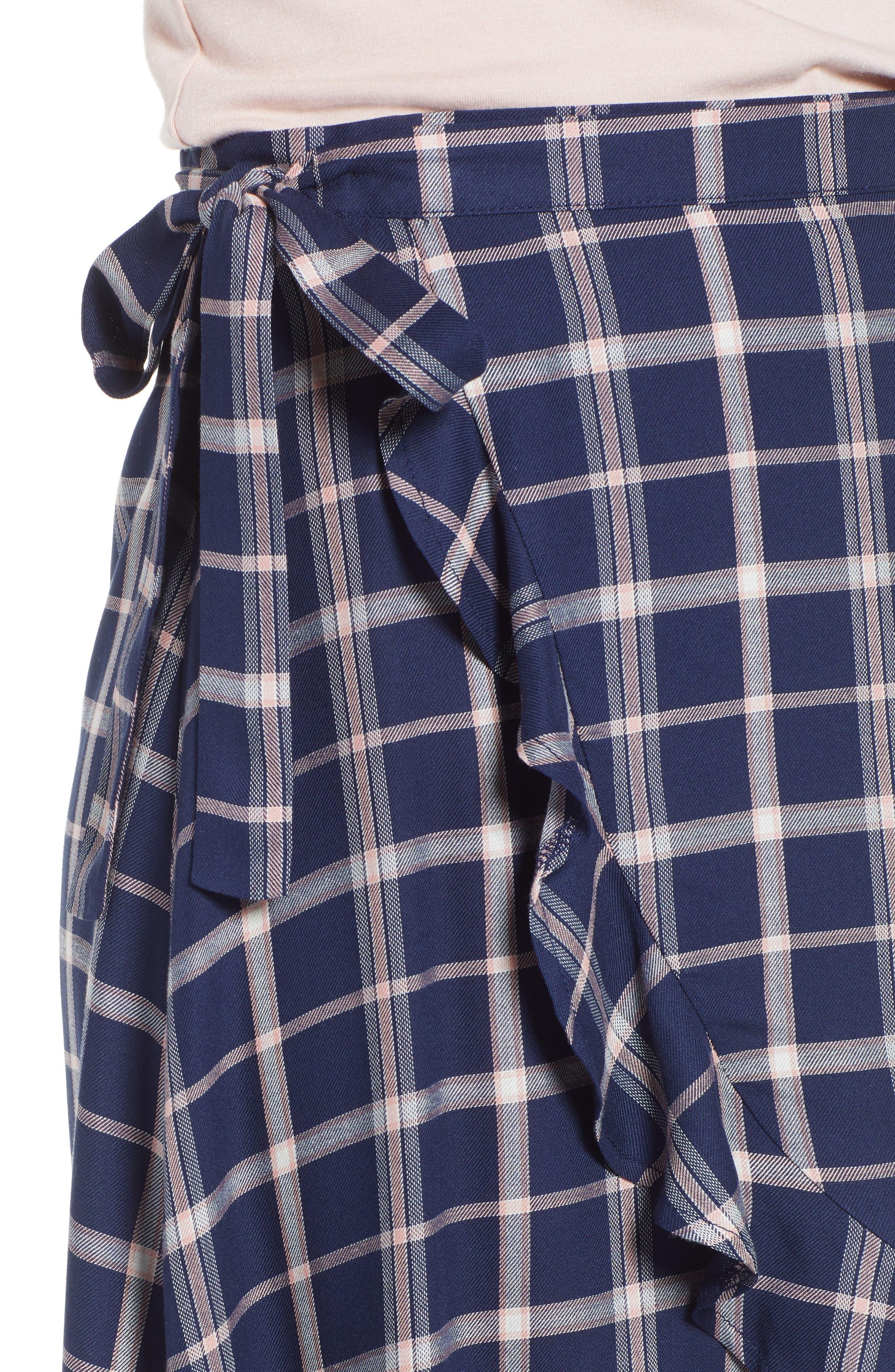 SOMEDAYS LOVIN,                             Plaid Ruffle Wrap Skirt,                             Alternate thumbnail 4, color,                             NAVY