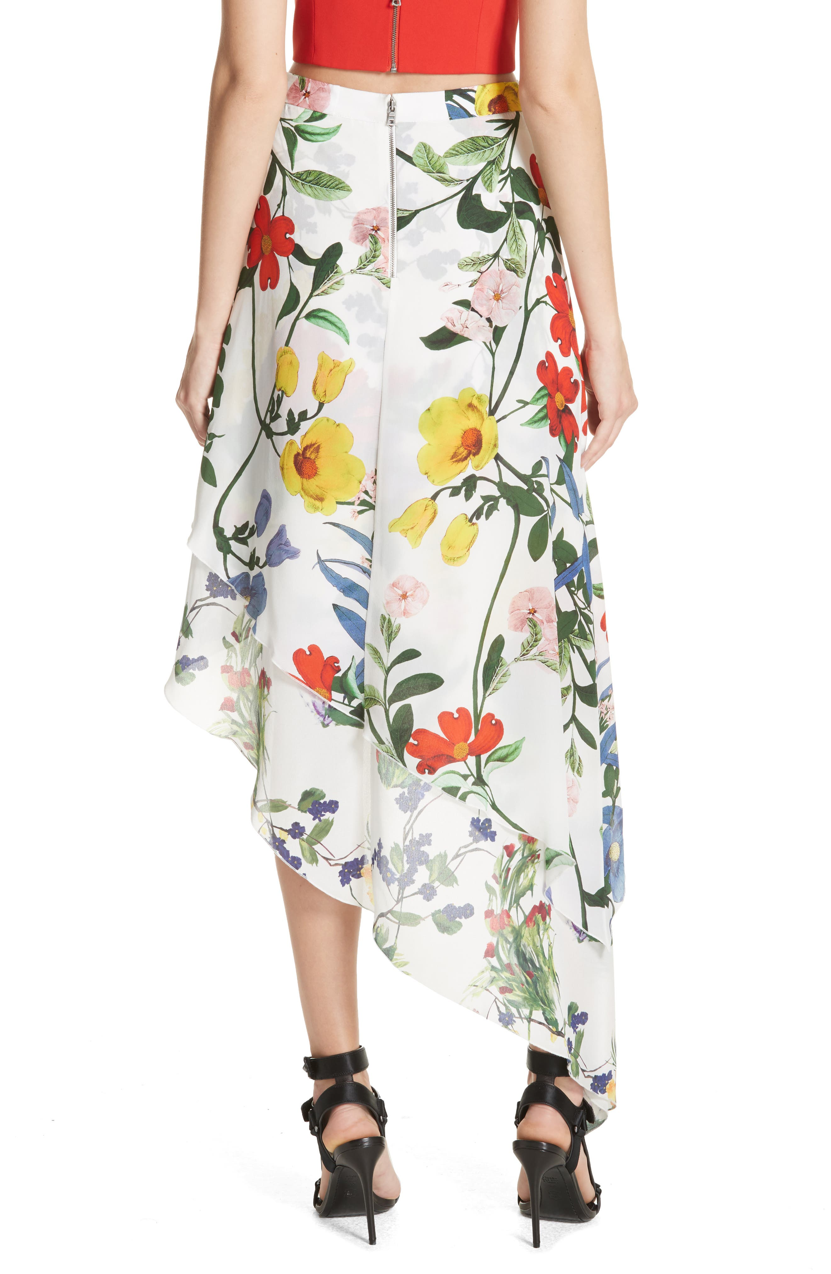 Joeann Asymmetrical Floral Silk Skirt,                             Alternate thumbnail 2, color,                             178