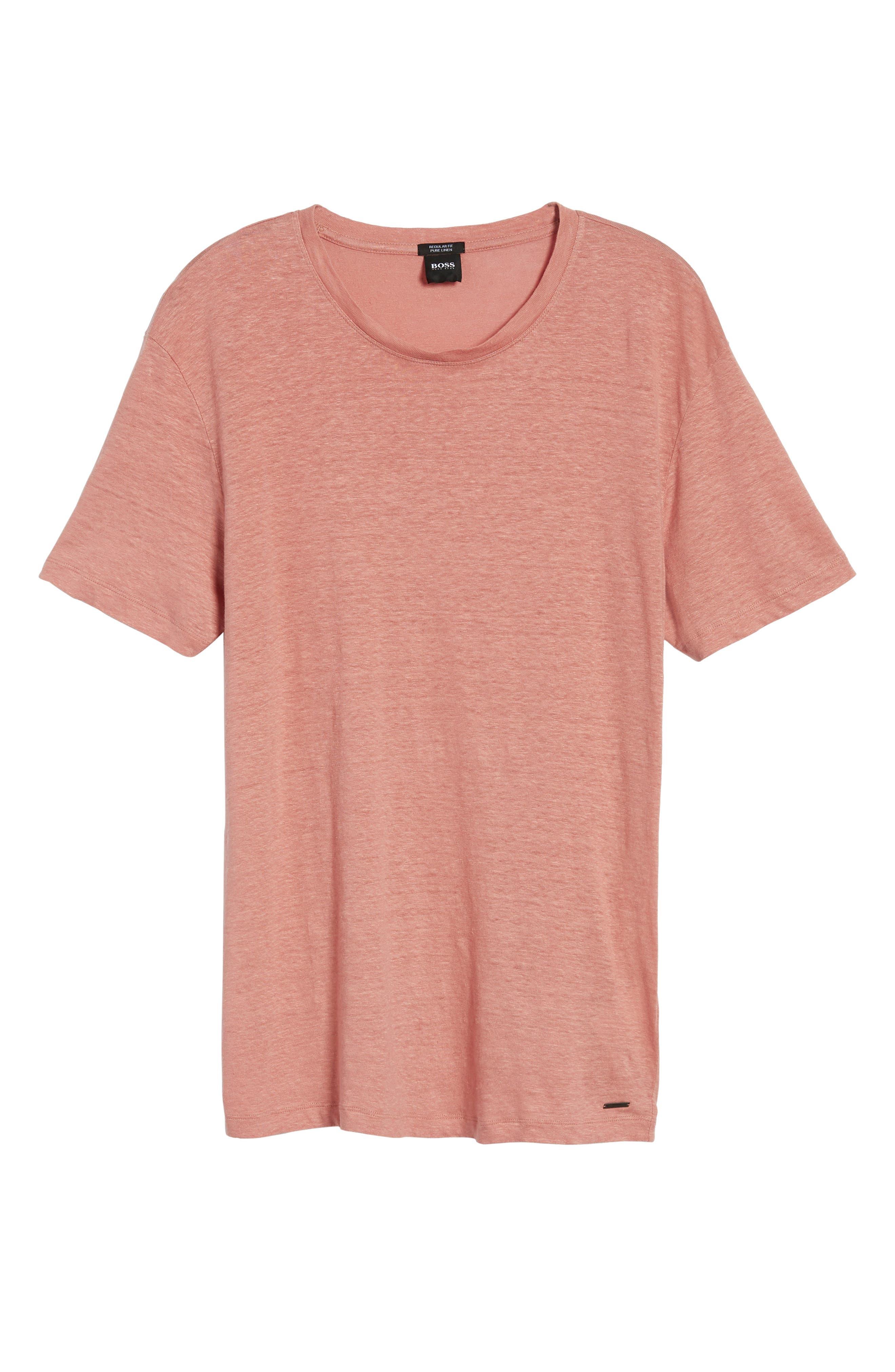 Hugo Boss Tiburt Linen T-Shirt,                             Alternate thumbnail 6, color,                             631