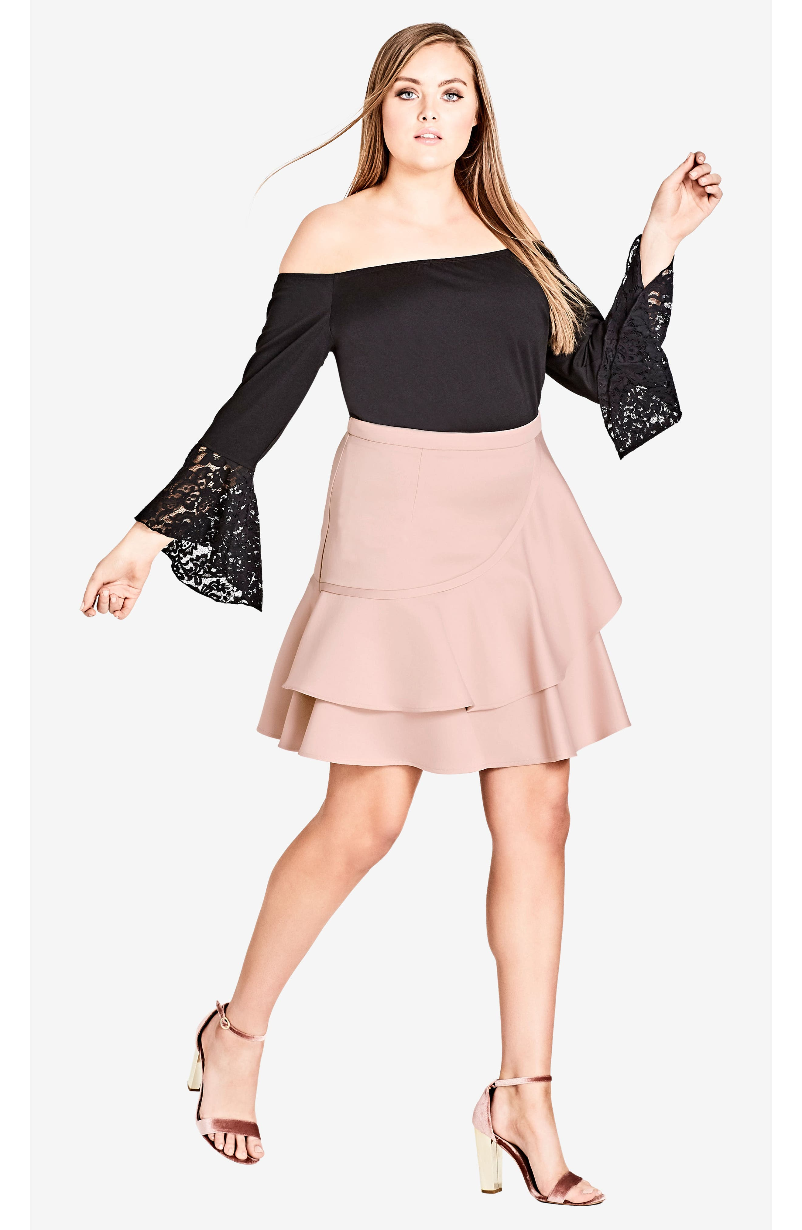 Lace Bell Sleeve Off the Shoulder Top,                             Alternate thumbnail 4, color,                             001