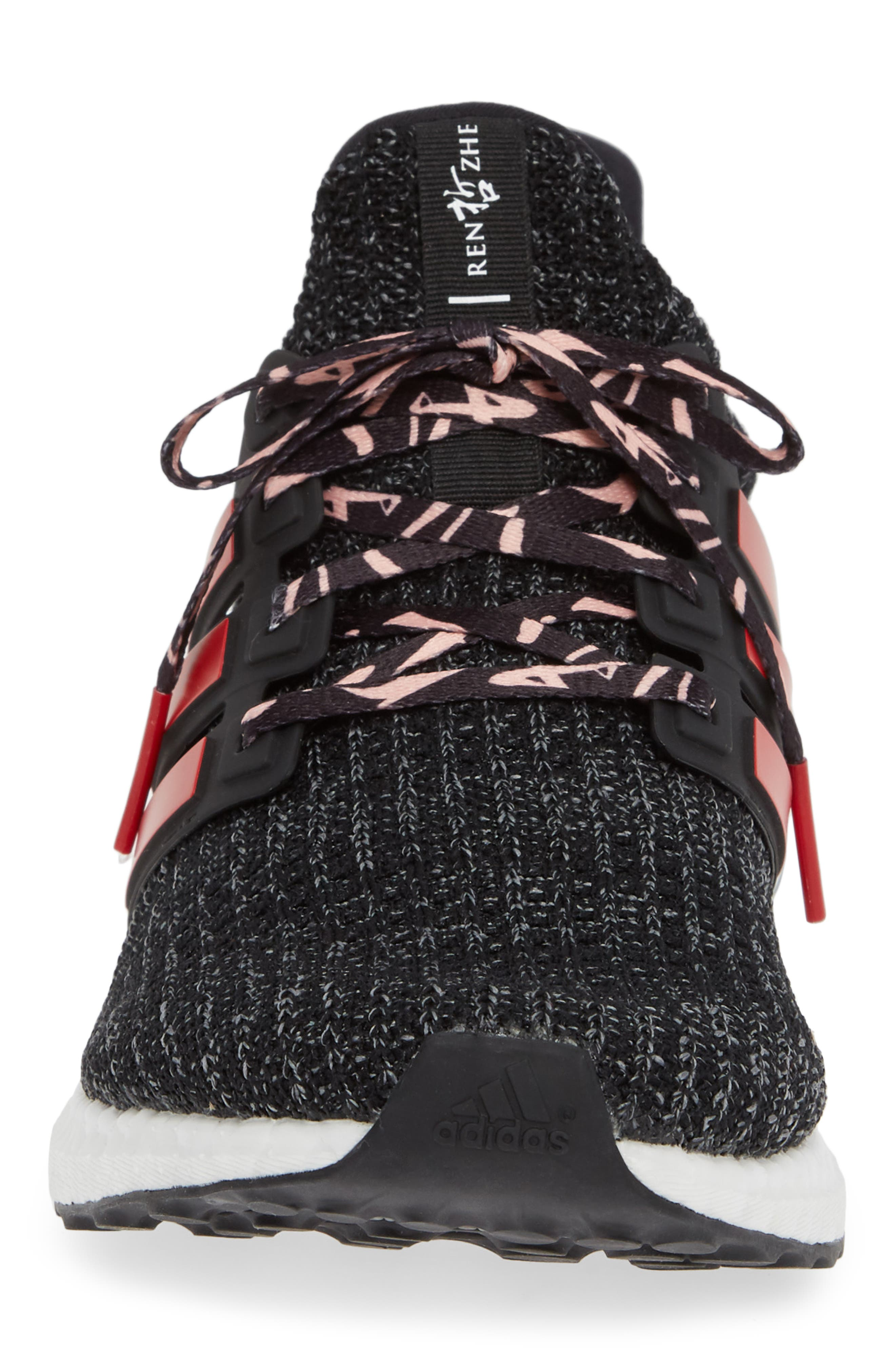 'UltraBoost' Running Shoe,                             Alternate thumbnail 4, color,                             CORE BLACK/ SCARLET/ GREY