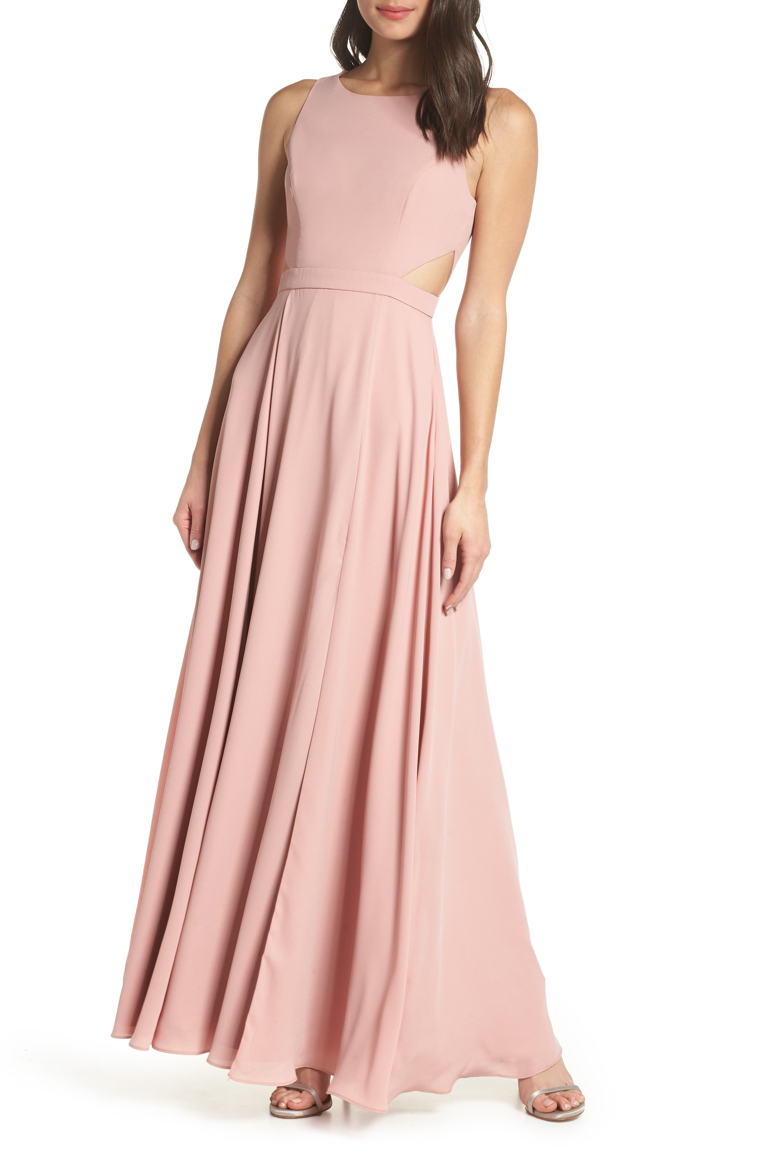 FAME AND PARTNERS Side Cutout Georgette Gown in Blush