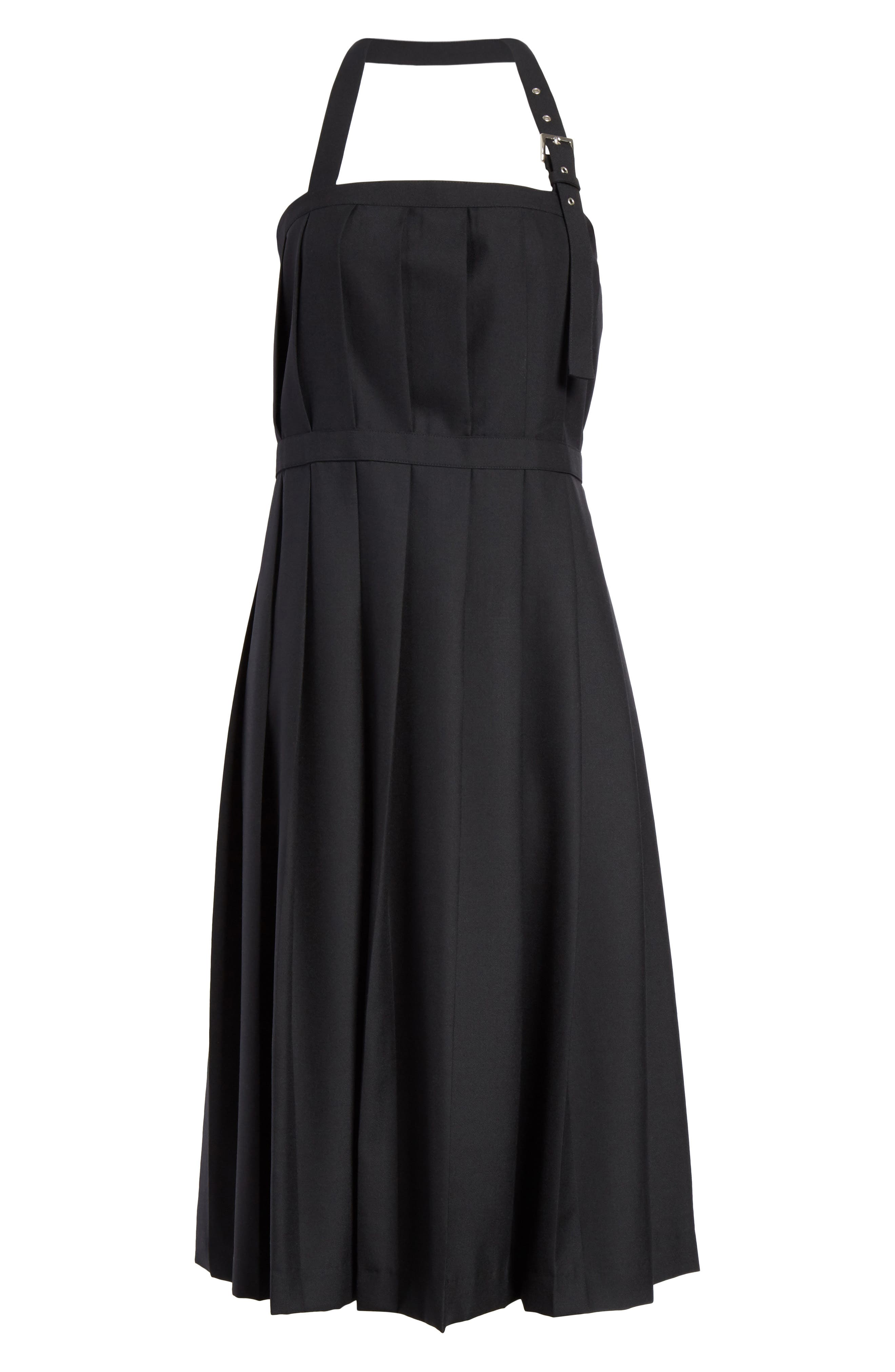 Pleated Open Back Wool Dress,                             Alternate thumbnail 6, color,                             001
