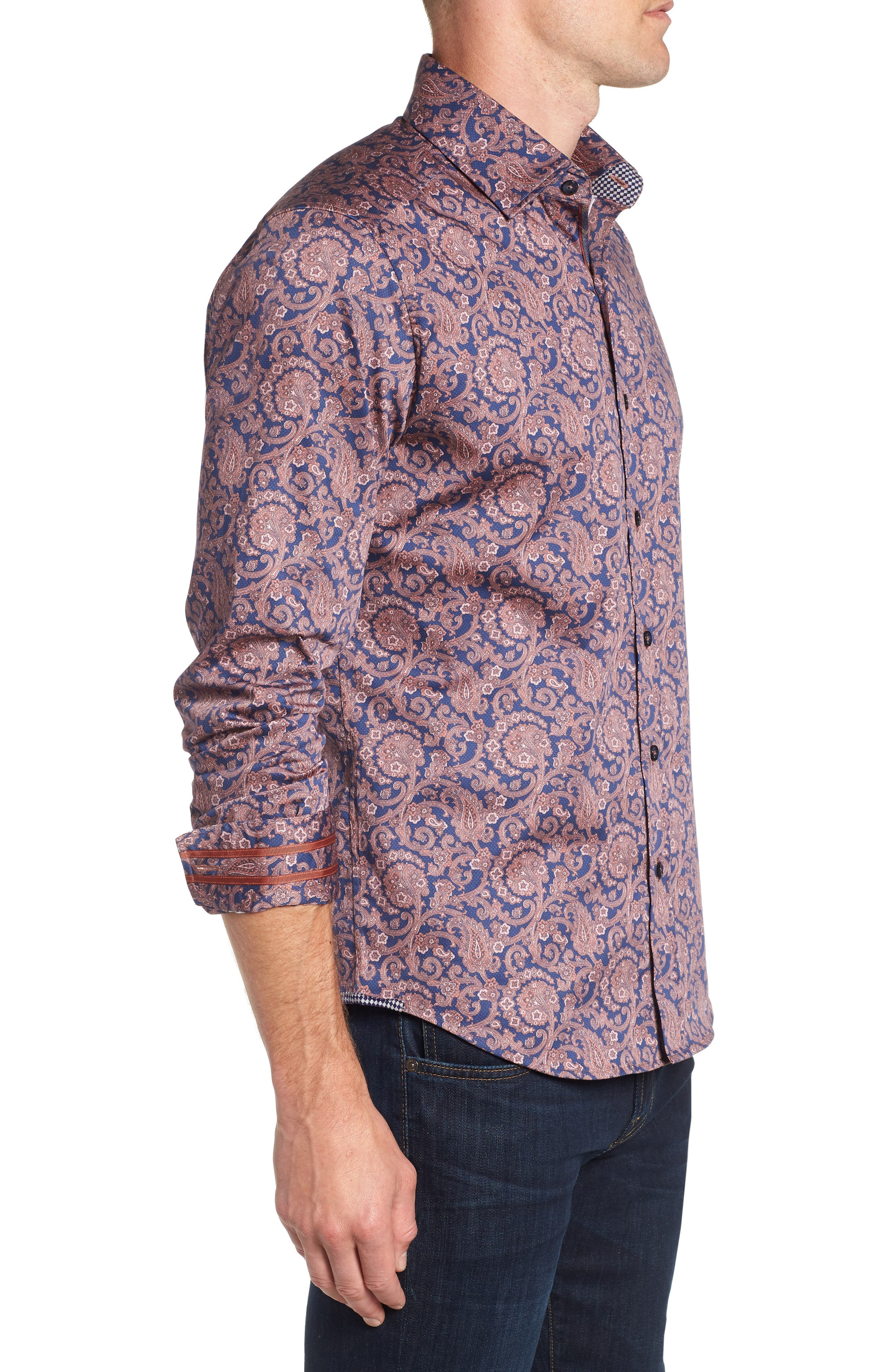 Lang Tailored Fit Print Sport Shirt,                             Alternate thumbnail 4, color,                             410
