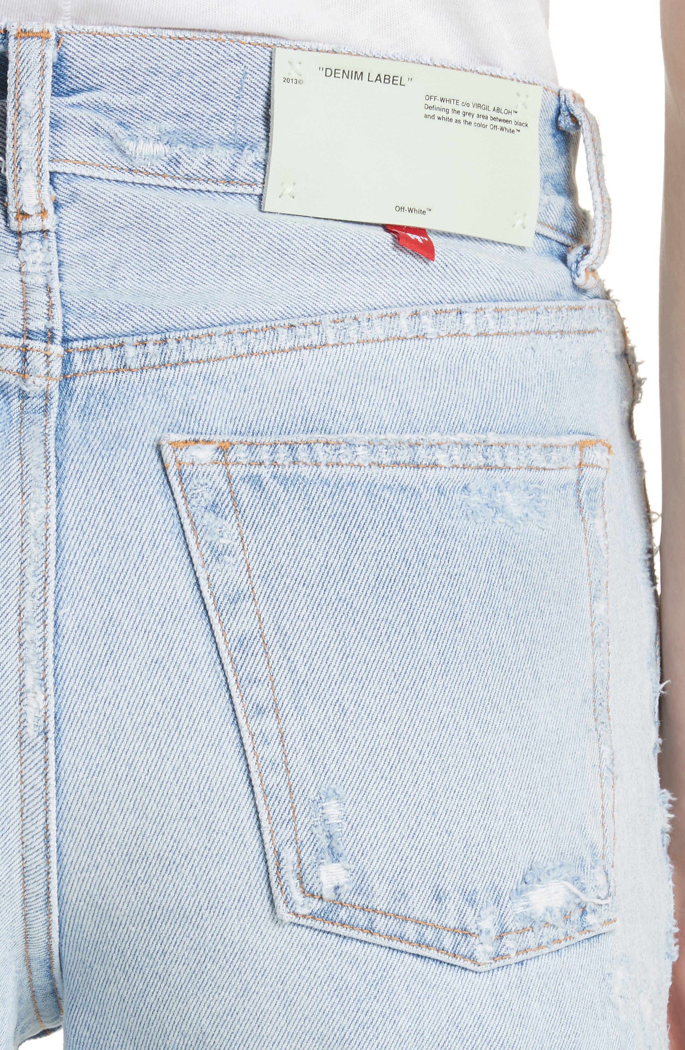 Distressed Straight Leg Jeans,                             Alternate thumbnail 5, color,                             400