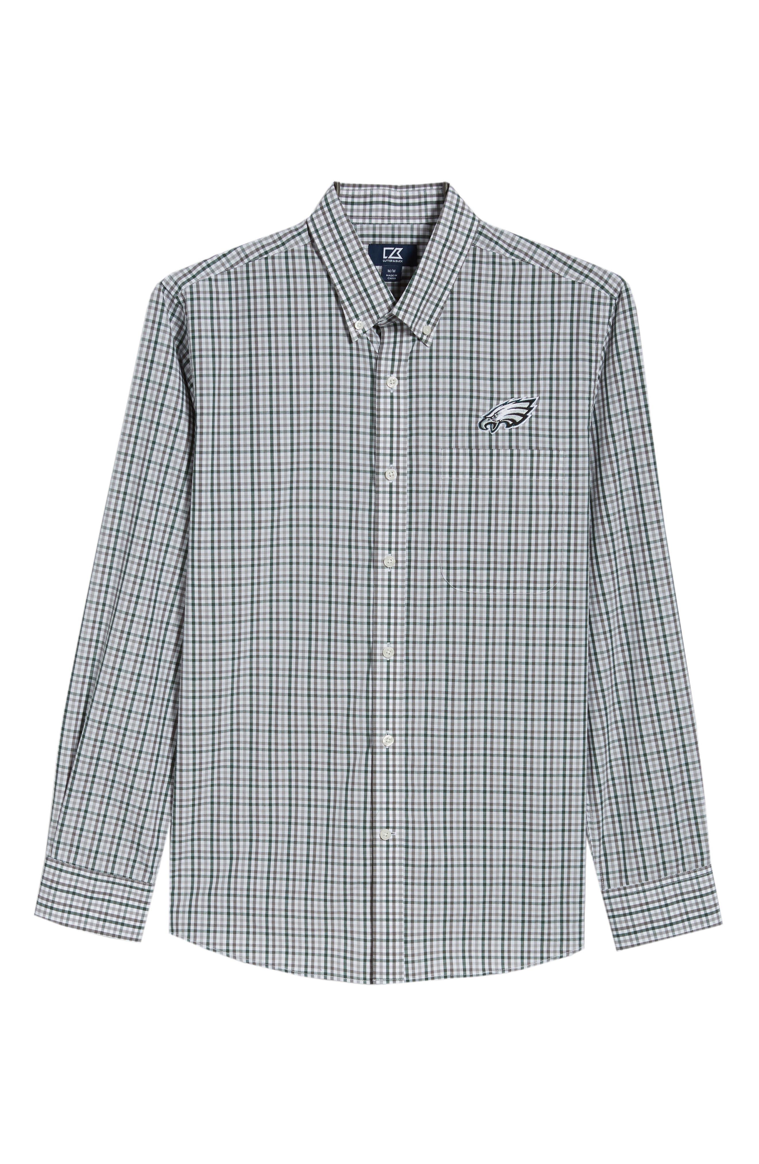 Philadelphia Eagles - Gilman Regular Fit Plaid Sport Shirt,                             Alternate thumbnail 6, color,                             HUNTER