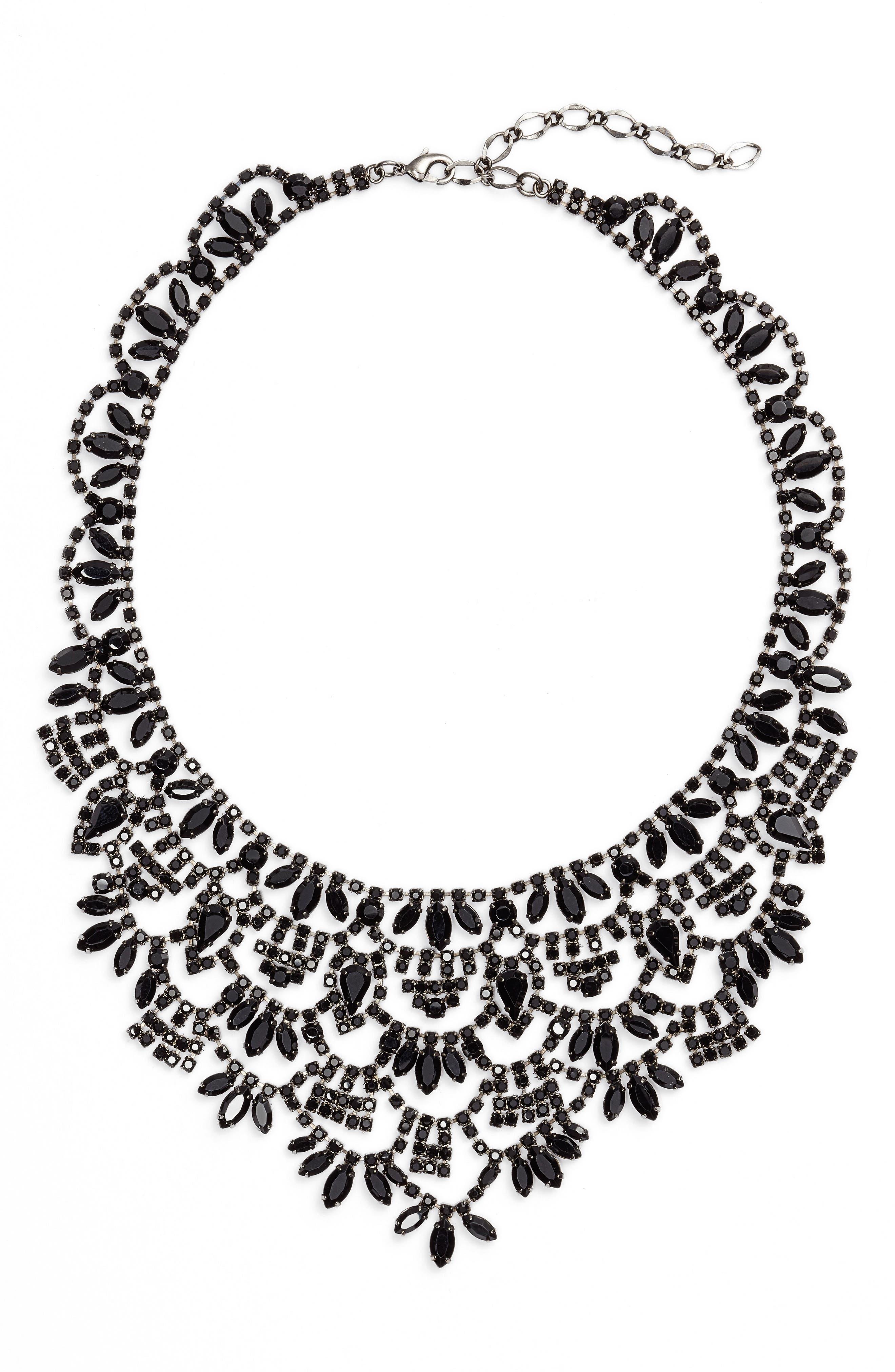 Crystal Bib Necklace,                         Main,                         color, JET/ HEMATITE