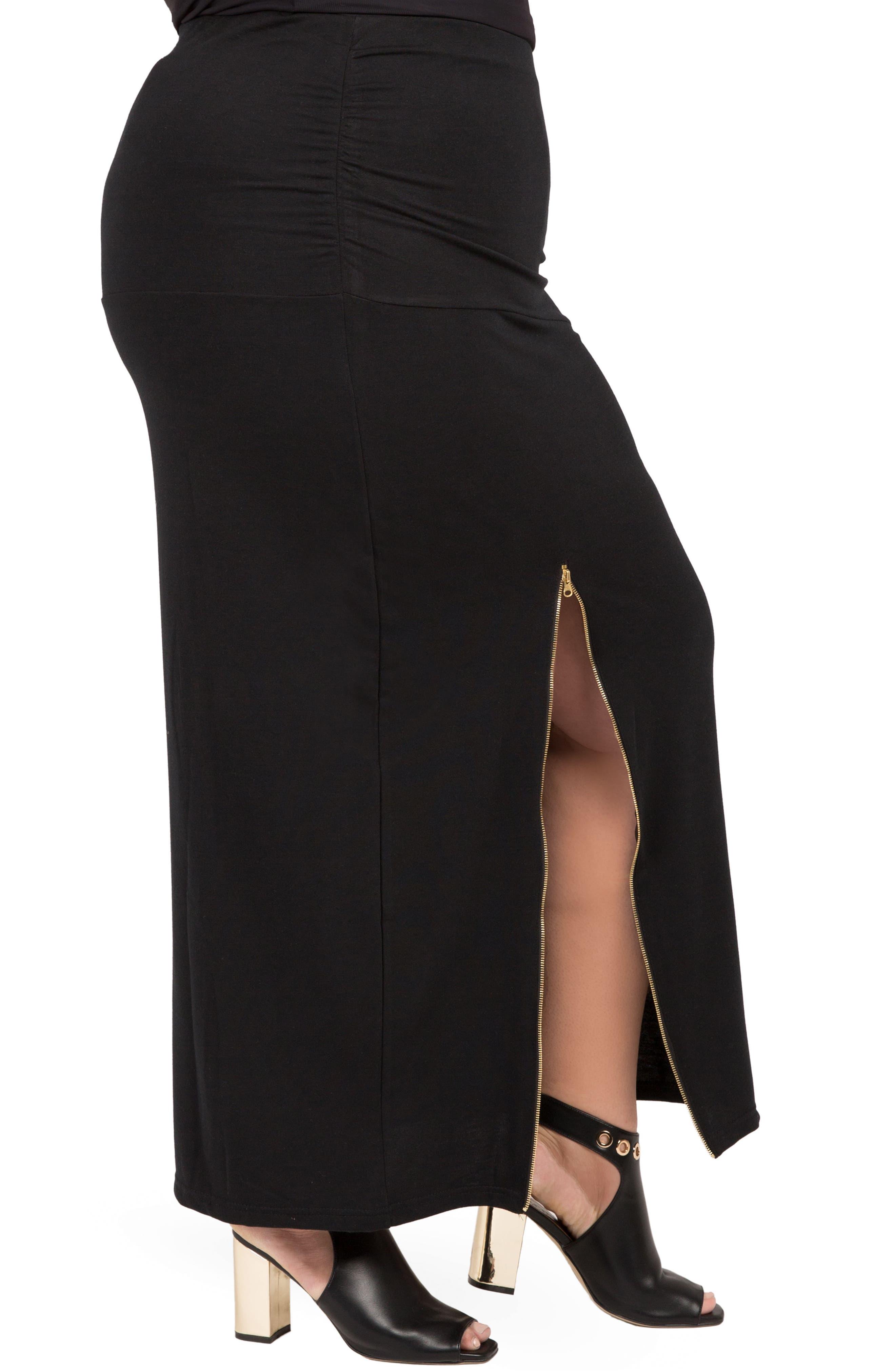 Kandi Zip Slit Maxi Skirt,                             Alternate thumbnail 4, color,                             BLACK