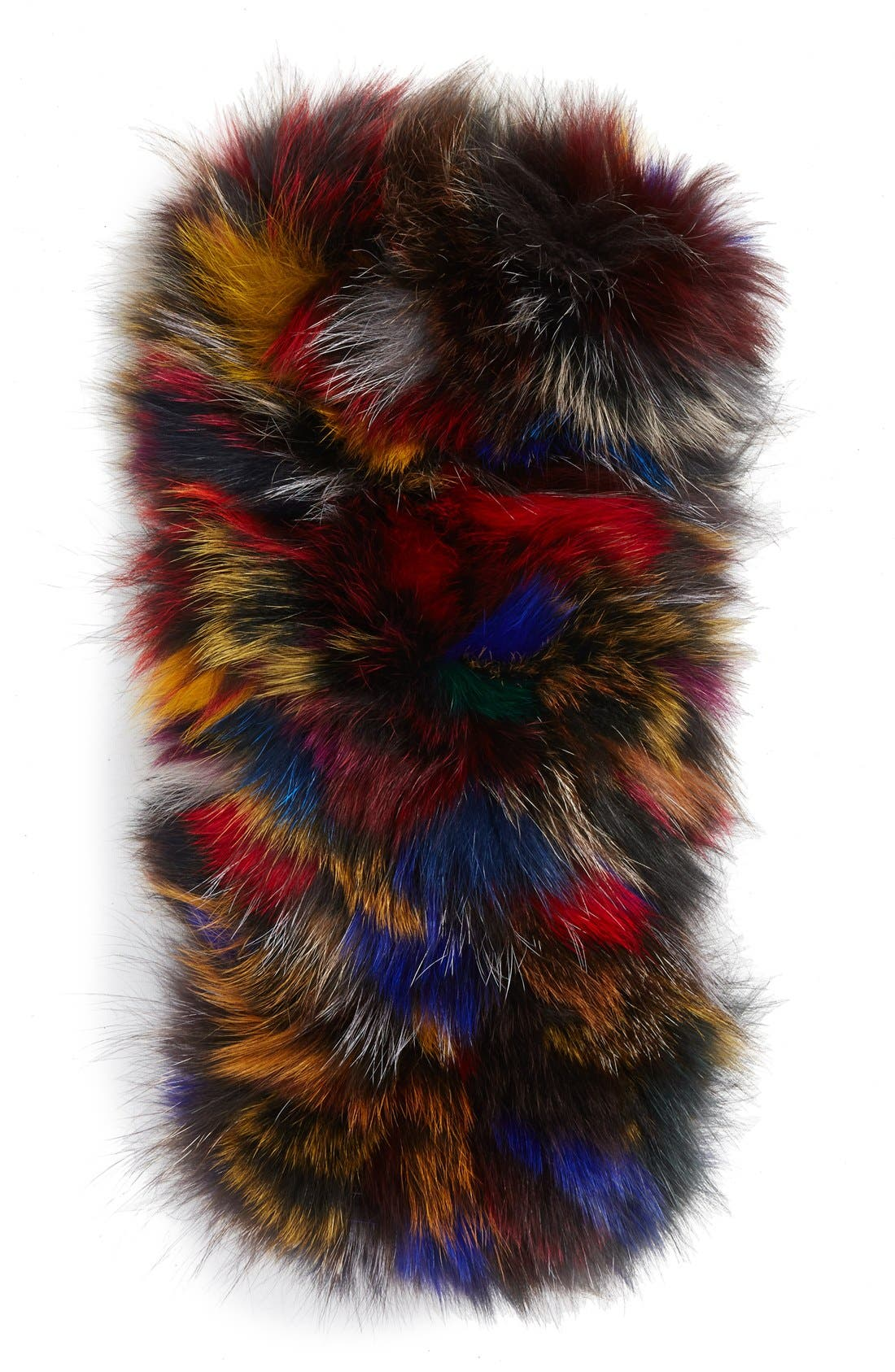 Genuine Fox Fur Infinity Scarf,                             Alternate thumbnail 2, color,                             001