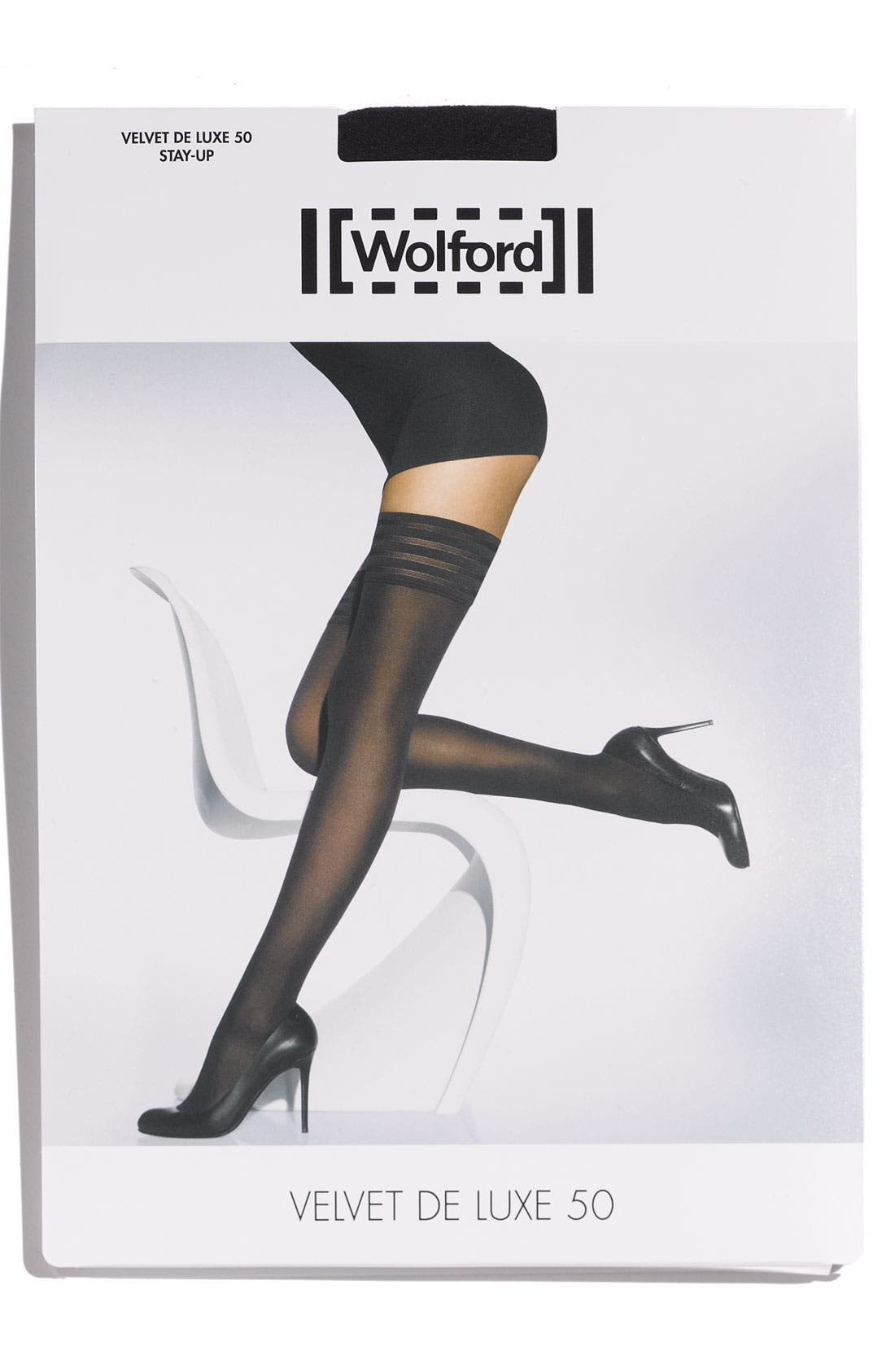Velvet De Luxe 50 Stay-Up Stockings,                             Alternate thumbnail 2, color,                             BLACK