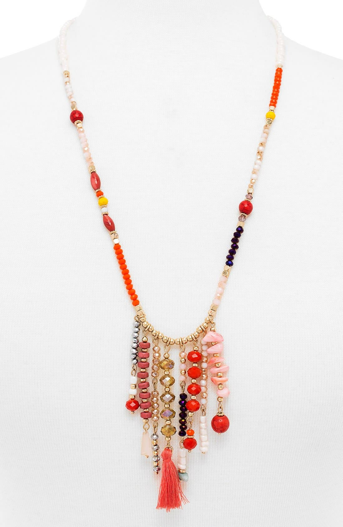 'Congo' Beaded Tassel Necklace,                             Main thumbnail 2, color,