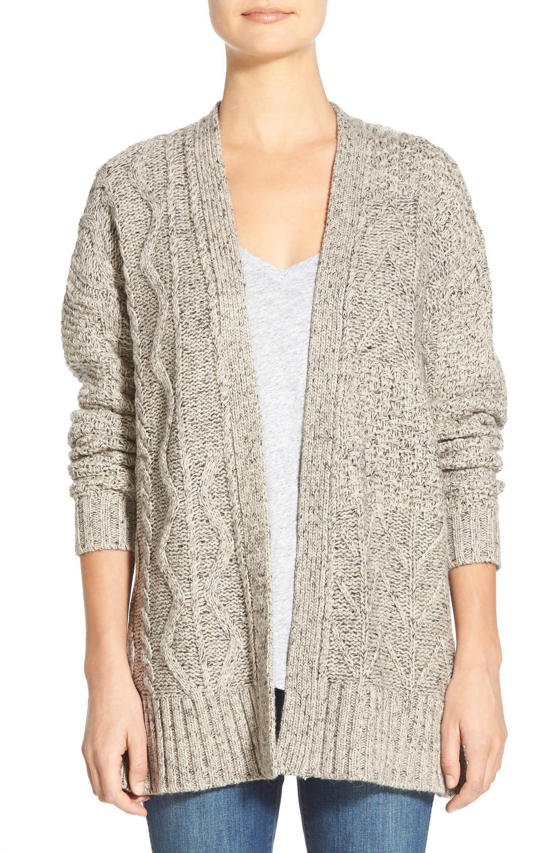 Marled Panel Stitch Open Front Cardigan, Main, color, 250