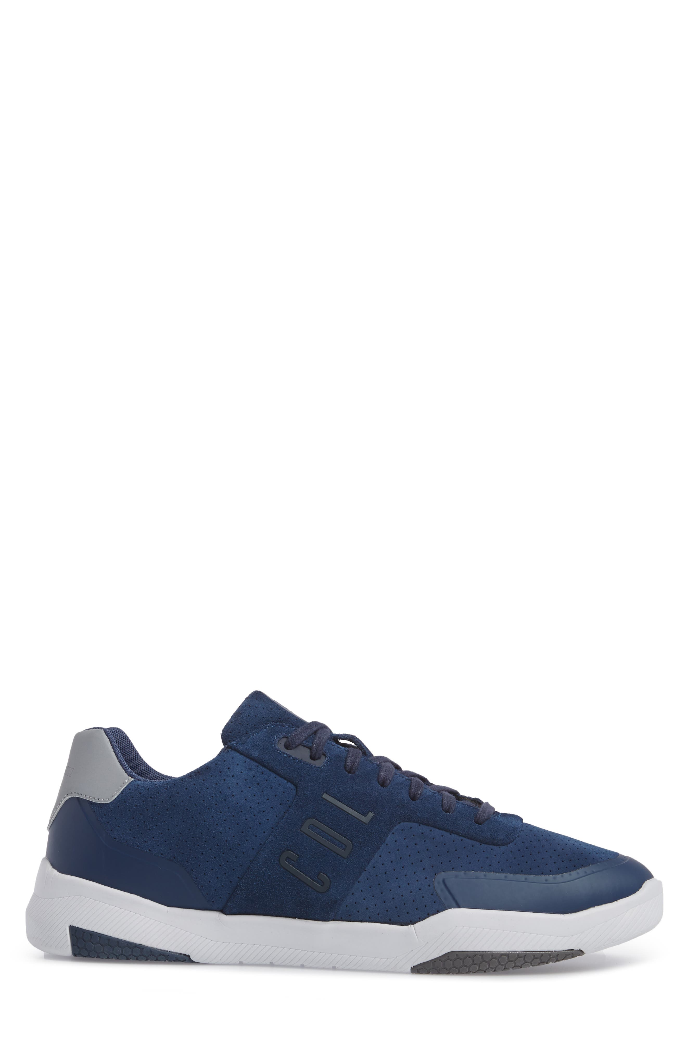 Shima Low Top Sneaker,                             Alternate thumbnail 3, color,                             NAVY SUEDE