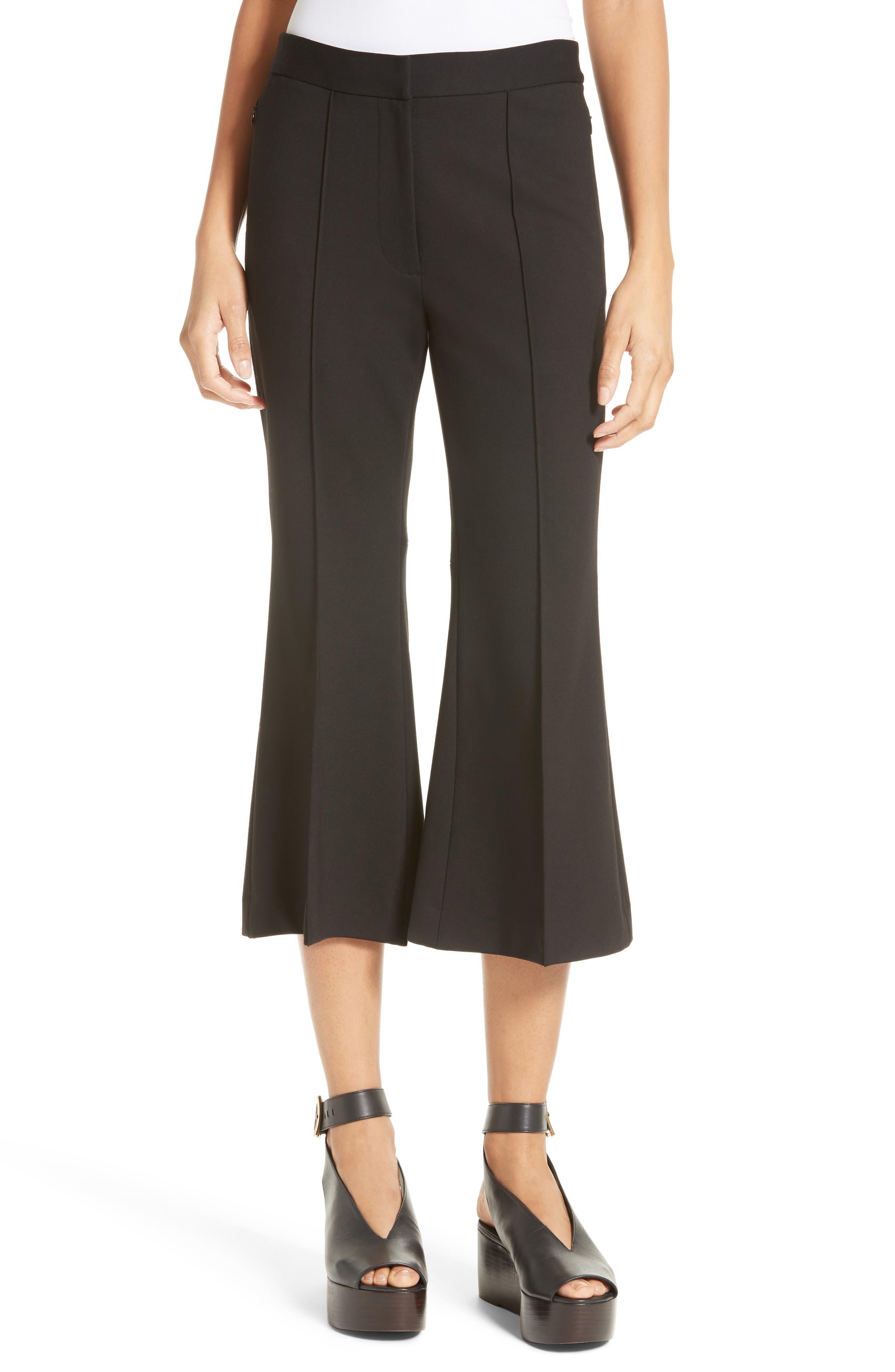 Flared Crop Ponte Pants,                             Main thumbnail 1, color,                             BLACK