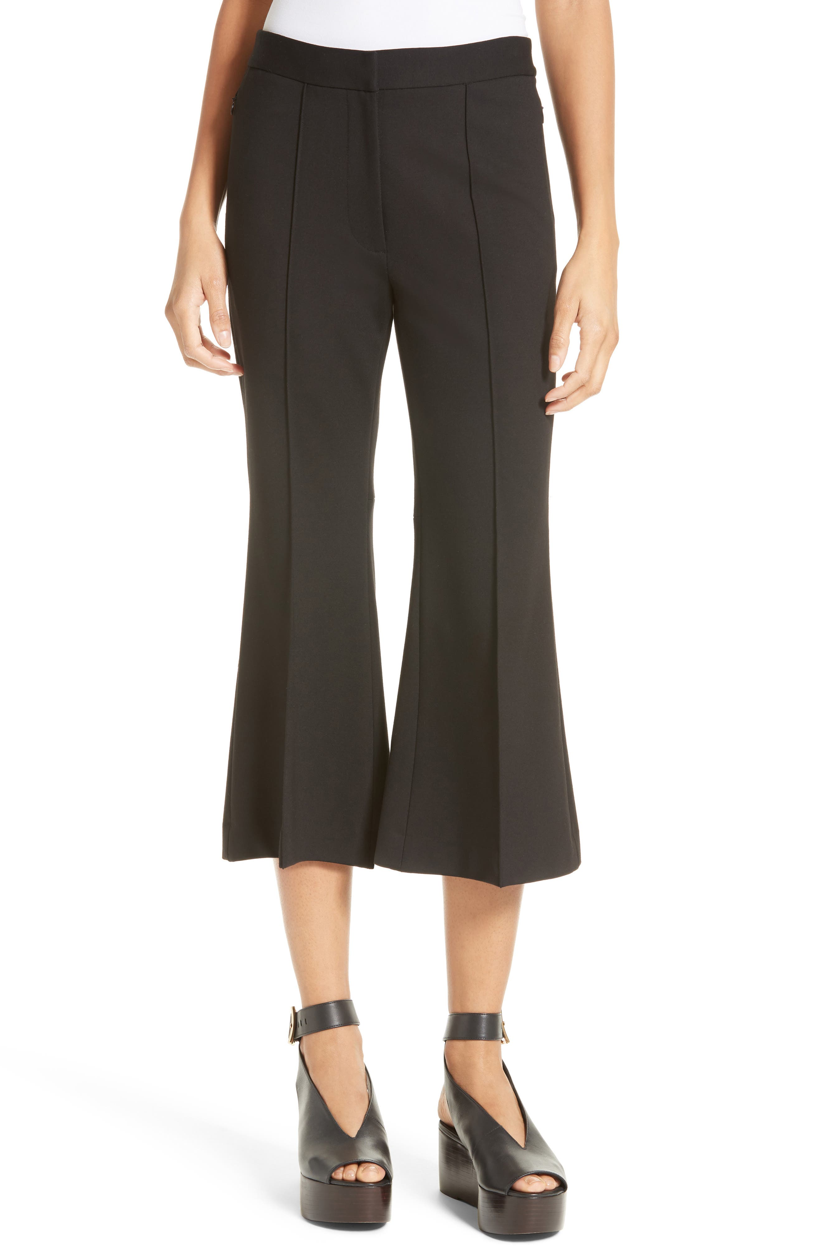 Flared Crop Ponte Pants,                         Main,                         color, BLACK