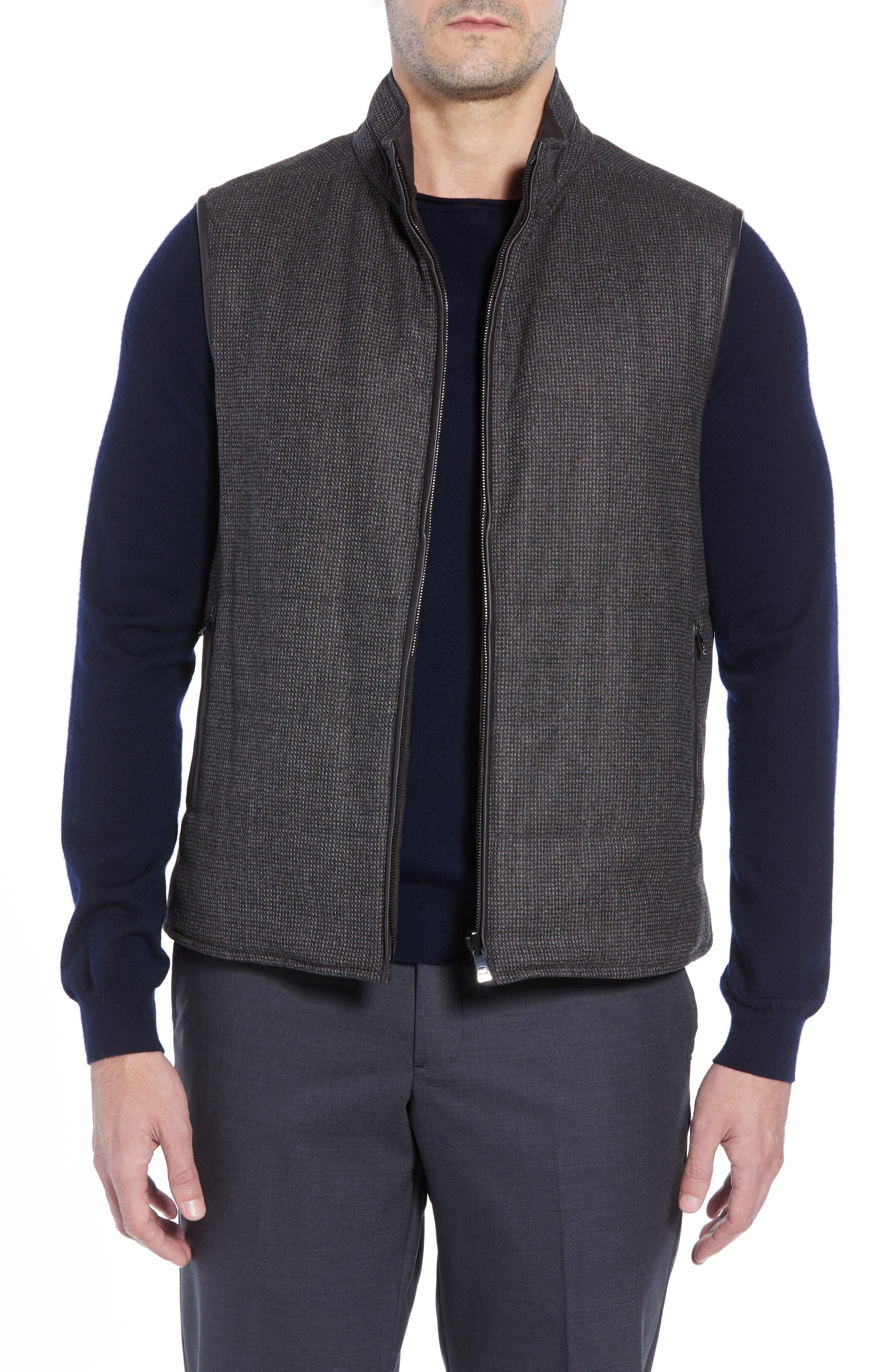 Classic Fit Reversible Vest,                         Main,                         color, BROWN