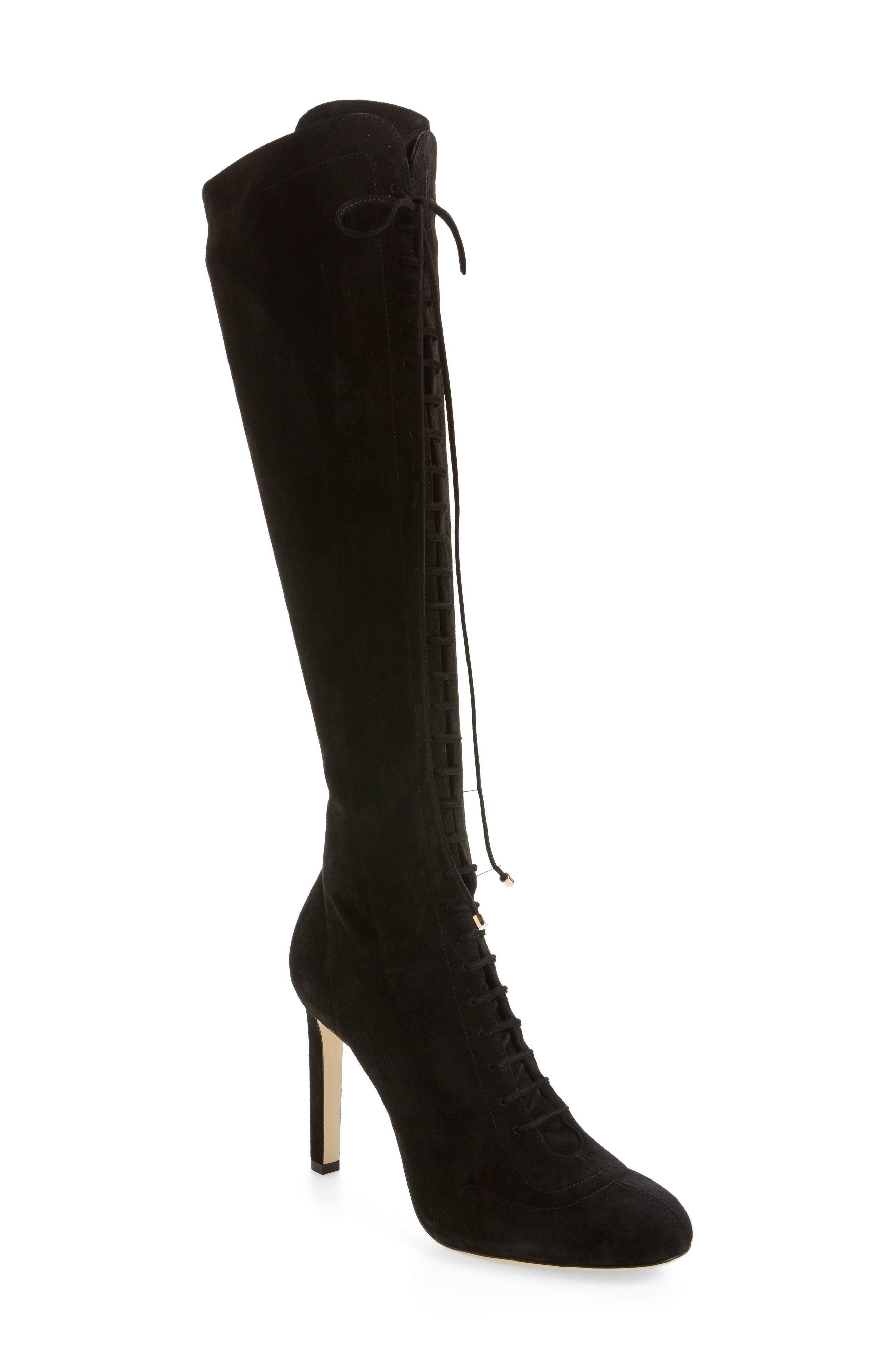 Desiree Lace Up Knee High Boot,                         Main,                         color, 001