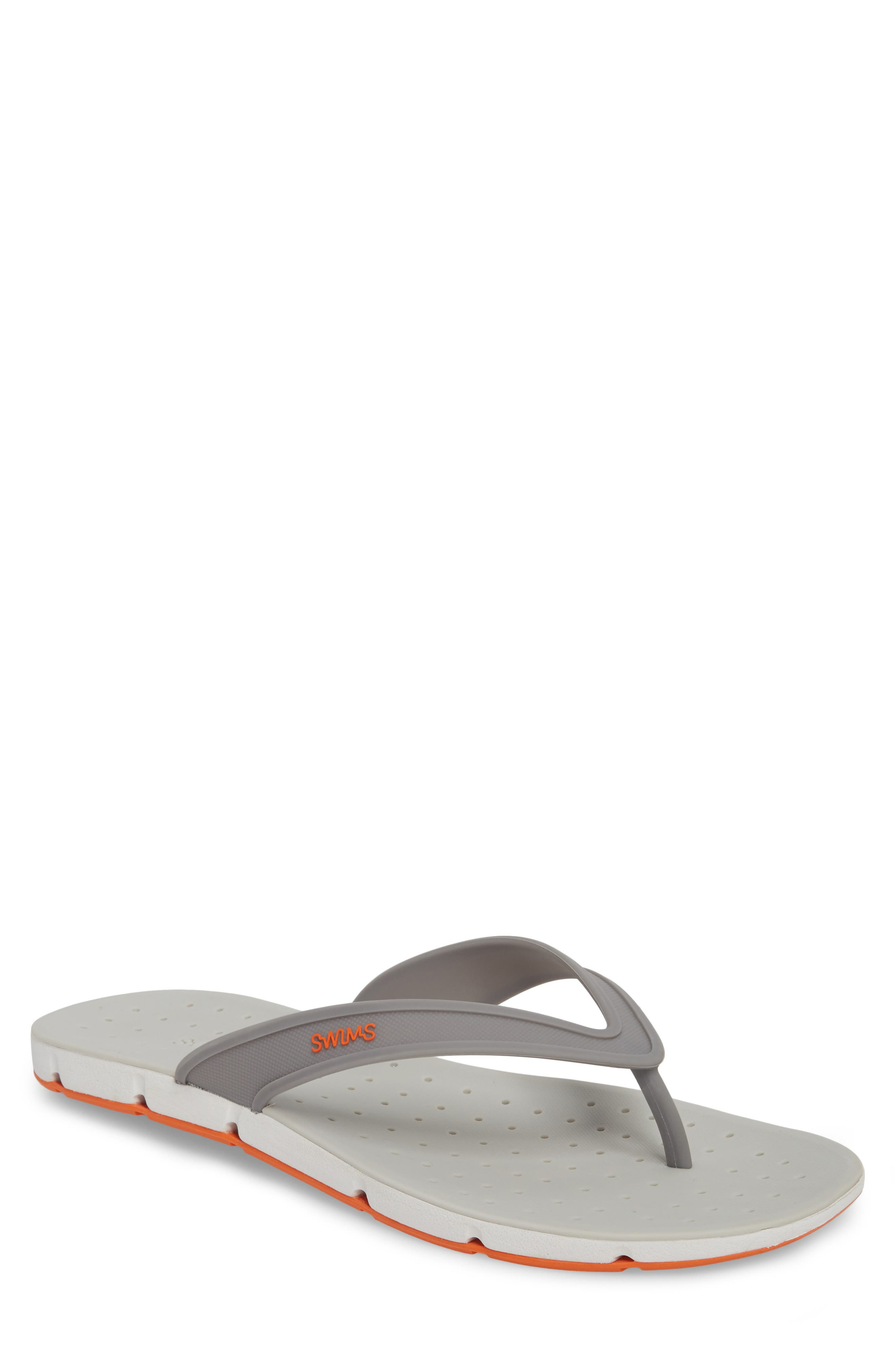 Breeze Flip Flop,                             Main thumbnail 1, color,                             GRAY / WHITE / ORANGE