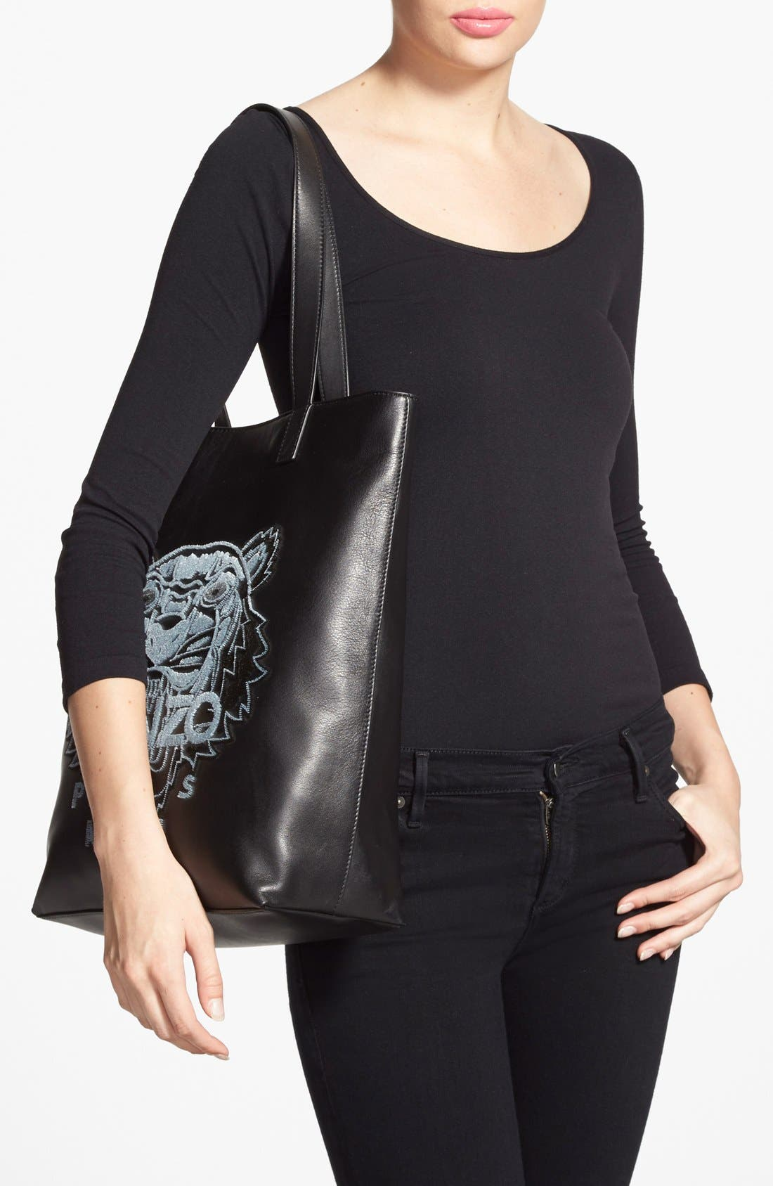 'Tiger' Leather Tote,                             Alternate thumbnail 4, color,                             001