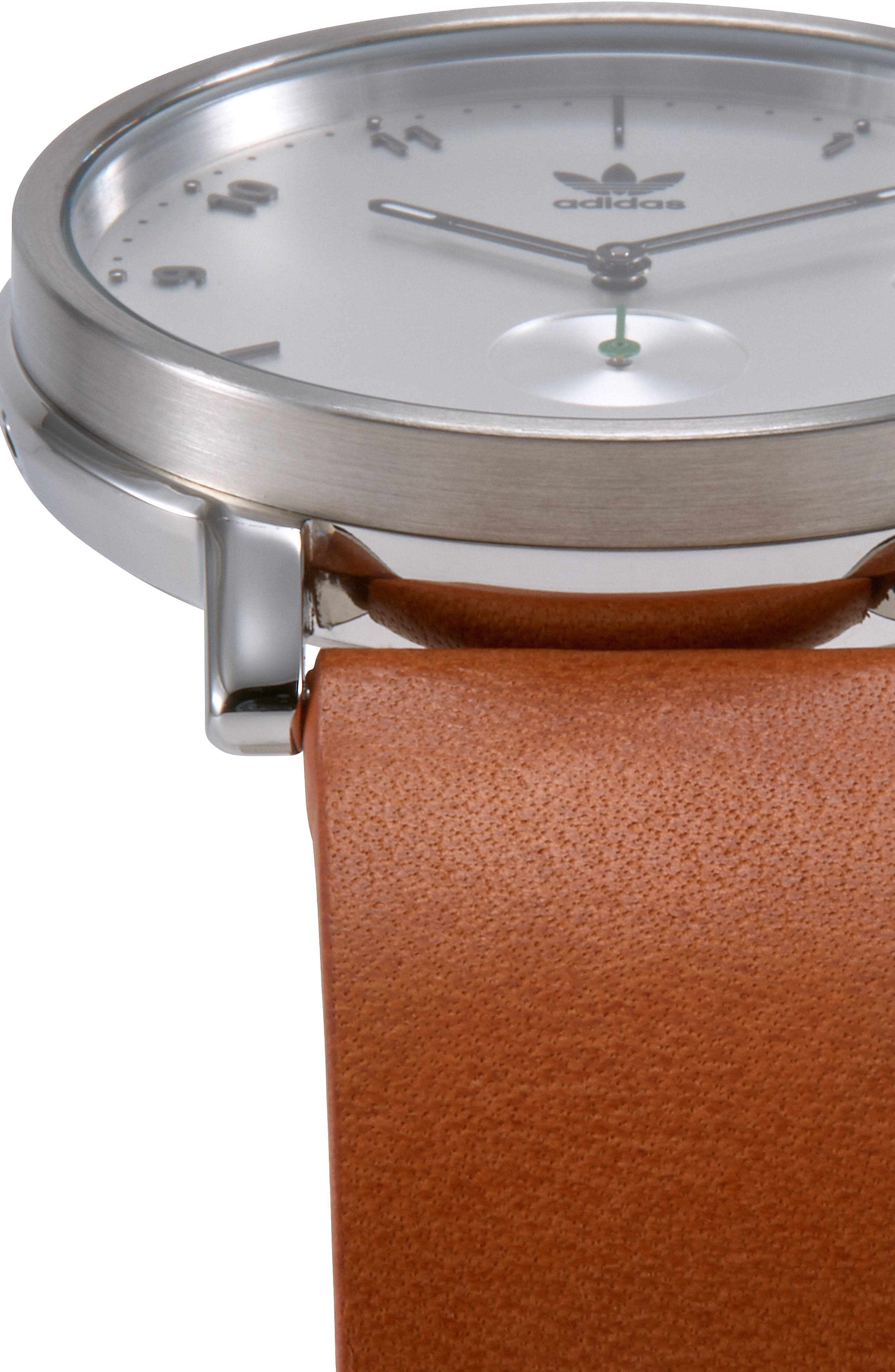 District Leather Strap Watch, 40mm,                             Alternate thumbnail 5, color,                             TAN/ SILVER