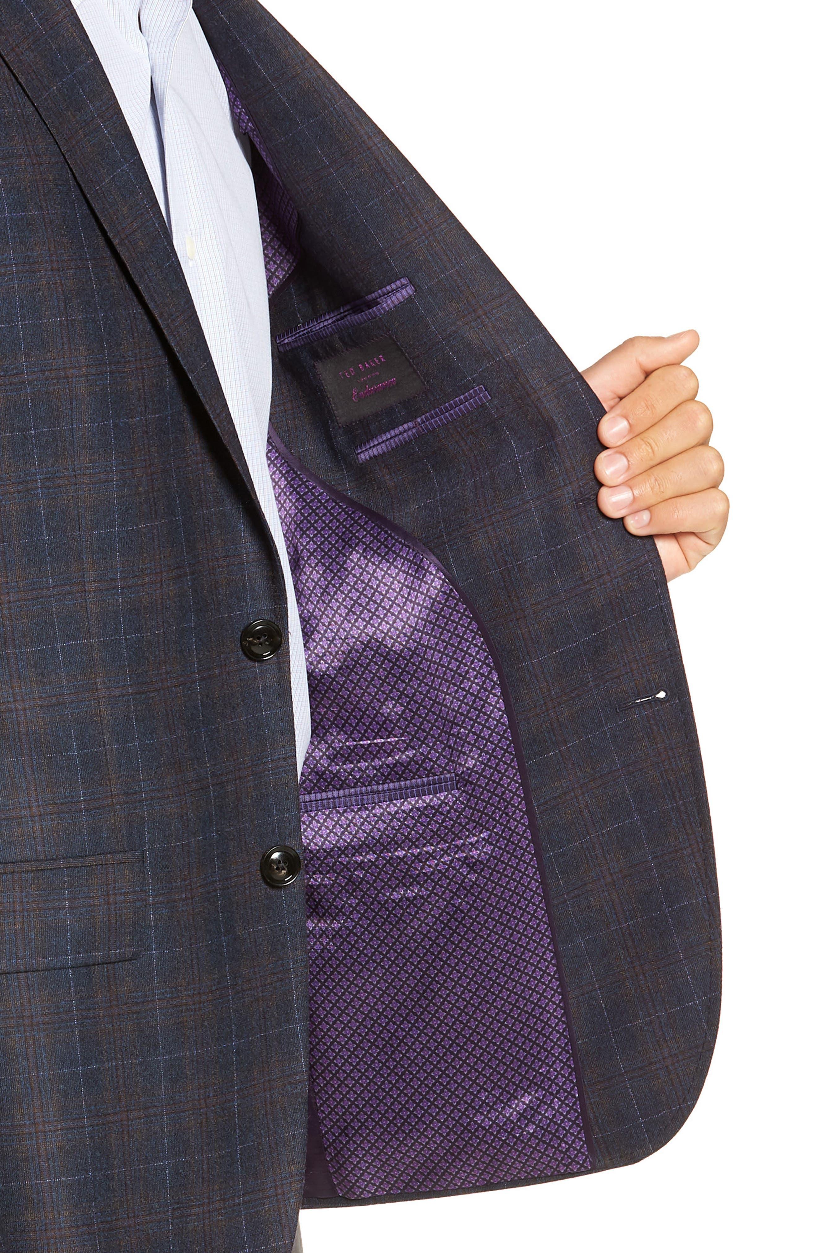 Jay 2B Trim Fit Plaid Wool Sport Coat,                             Alternate thumbnail 4, color,                             BLUE PLAID
