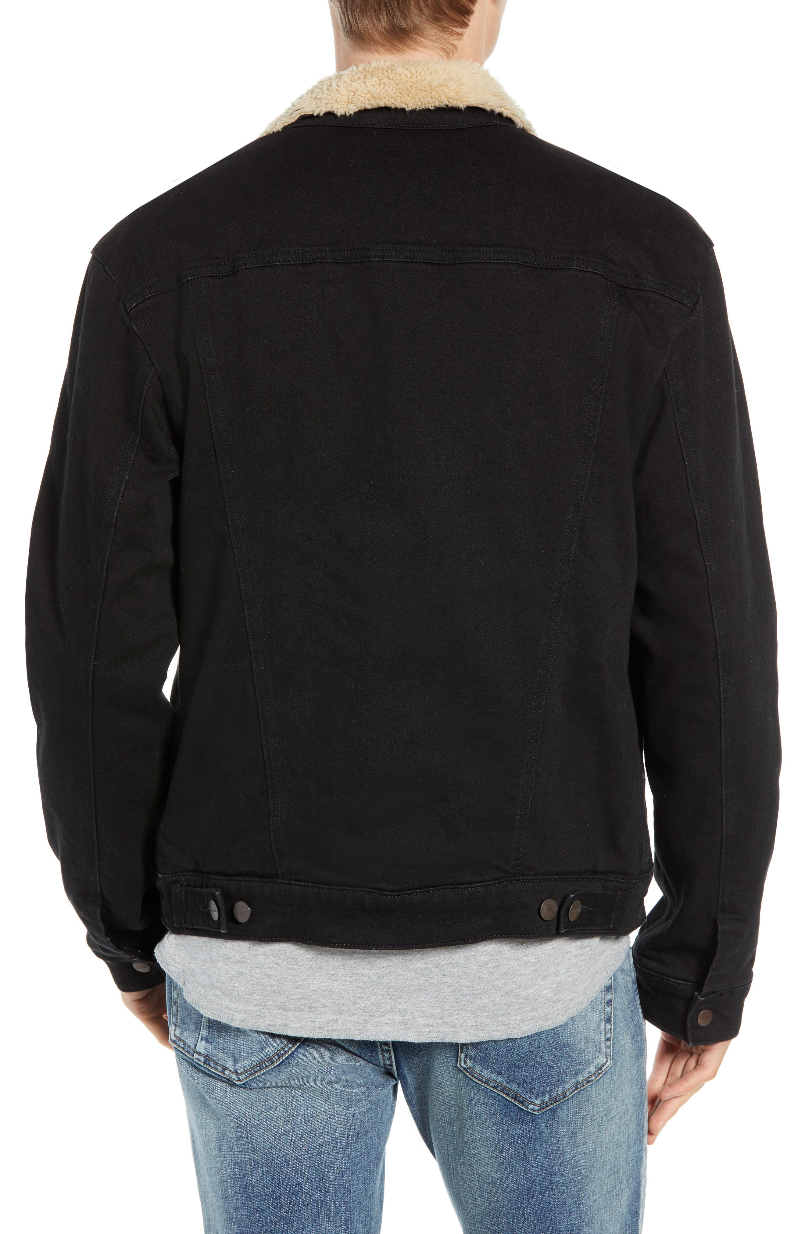 Heritage Fleece Lined Denim Jacket,                             Alternate thumbnail 2, color,                             BLACK