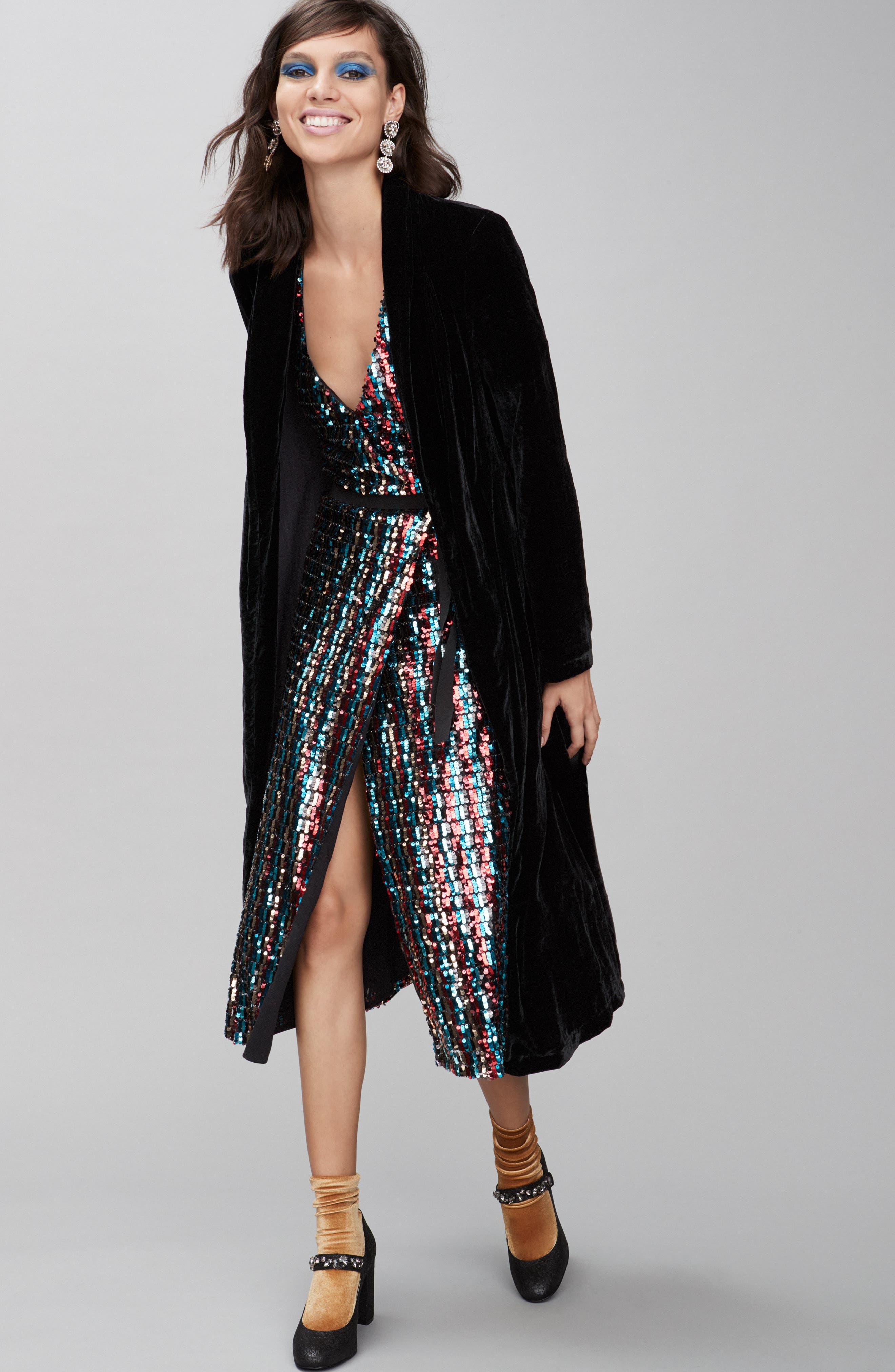 Multicolor Sequin Wrap Dress,                             Alternate thumbnail 10, color,                             MERLOT GOLD