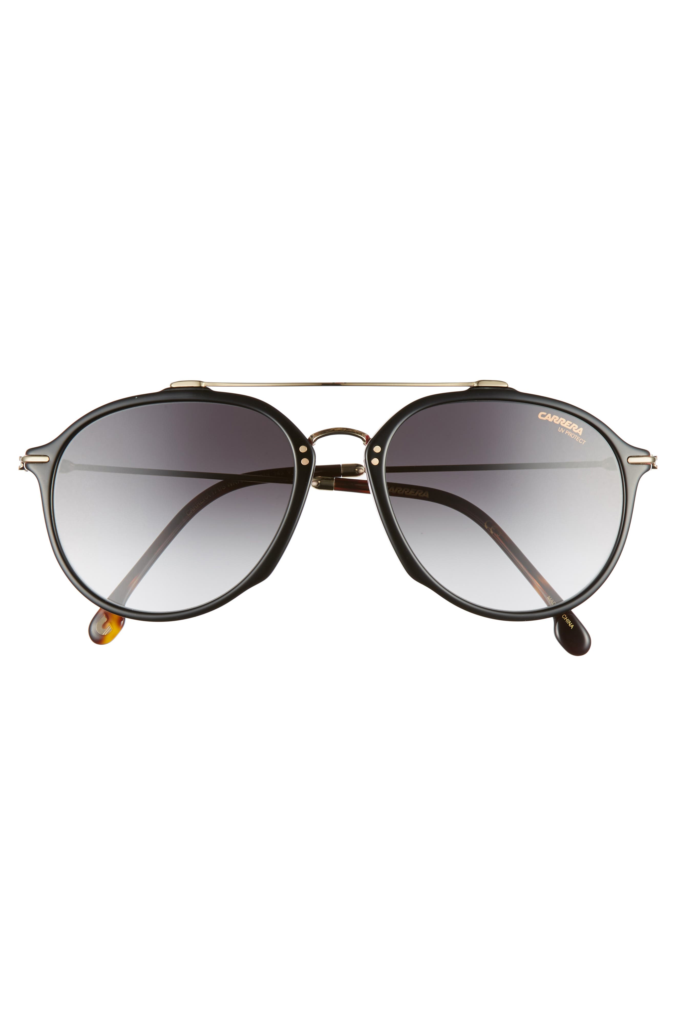 55mm Round Sunglasses,                             Alternate thumbnail 2, color,                             BLACK HAVANA