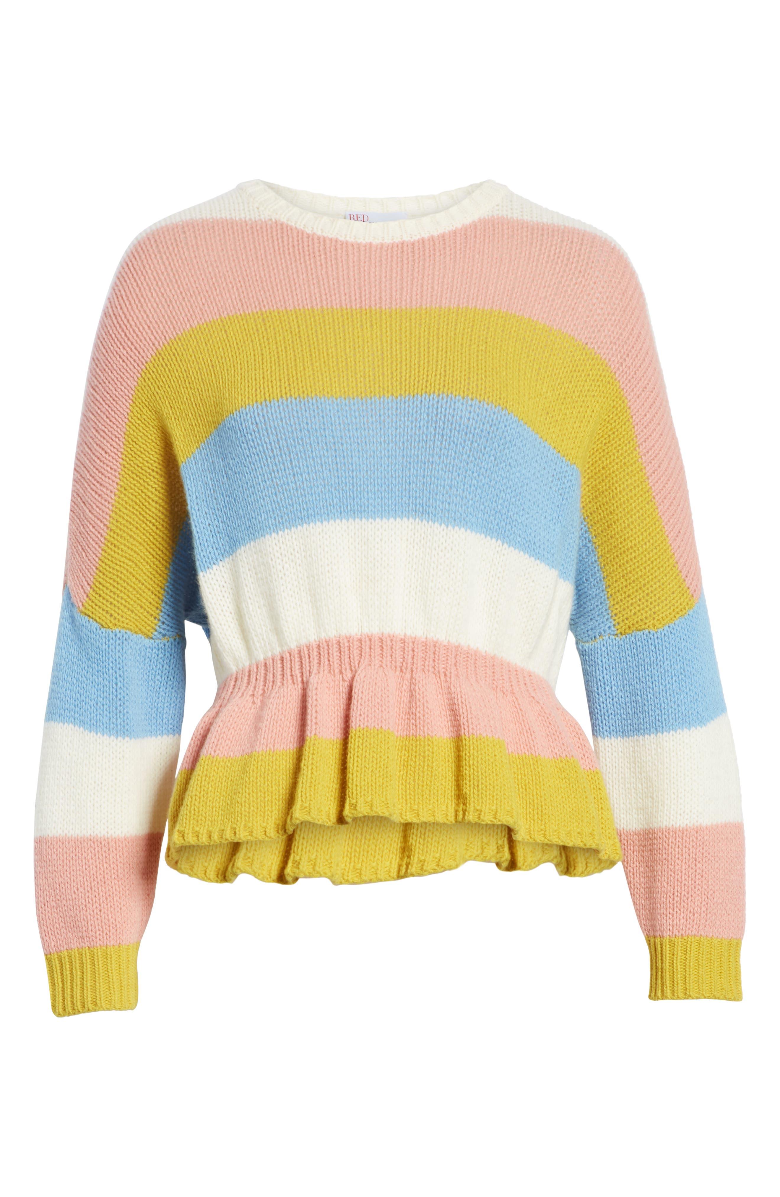 RED VALENTINO,                             Ruffle Hem Stripe Wool Sweater,                             Alternate thumbnail 6, color,                             110