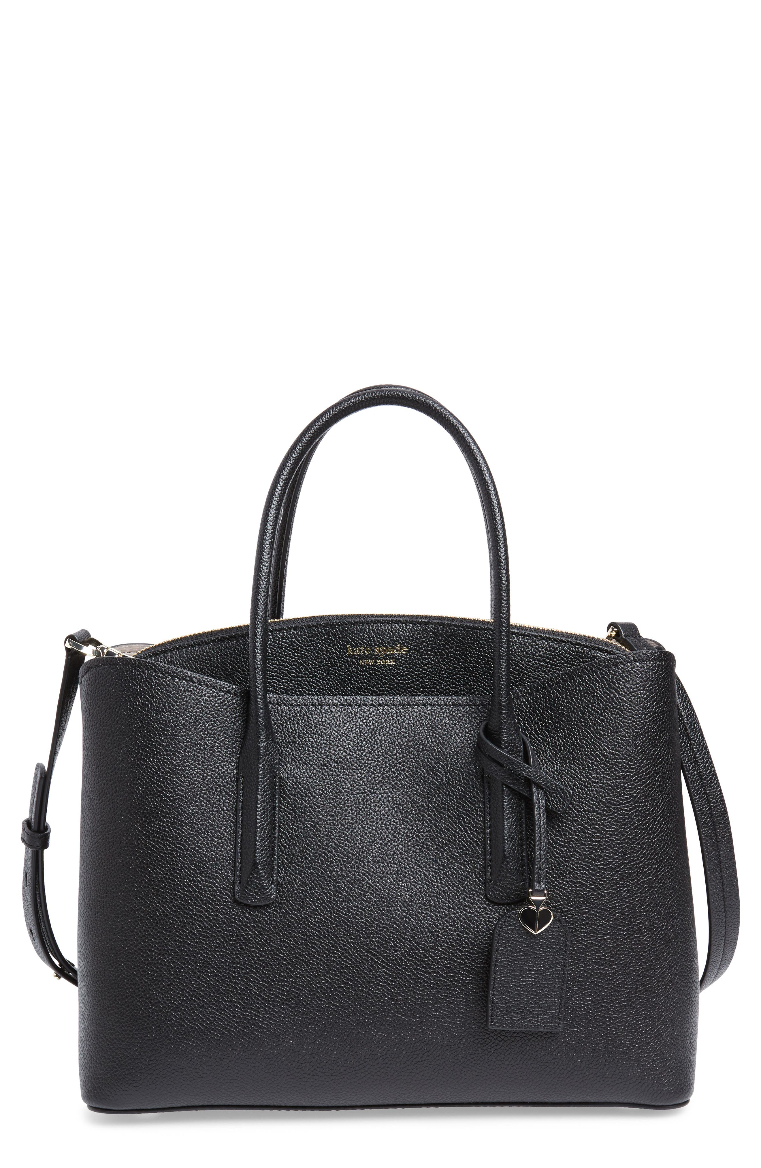 KATE SPADE NEW YORK,                             large margaux leather satchel,                             Main thumbnail 1, color,                             BLACK