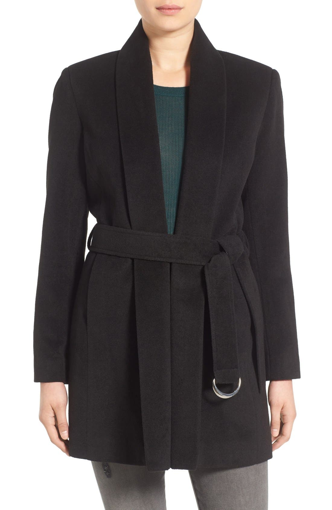 Belted Shawl Collar Coat, Main, color, 001