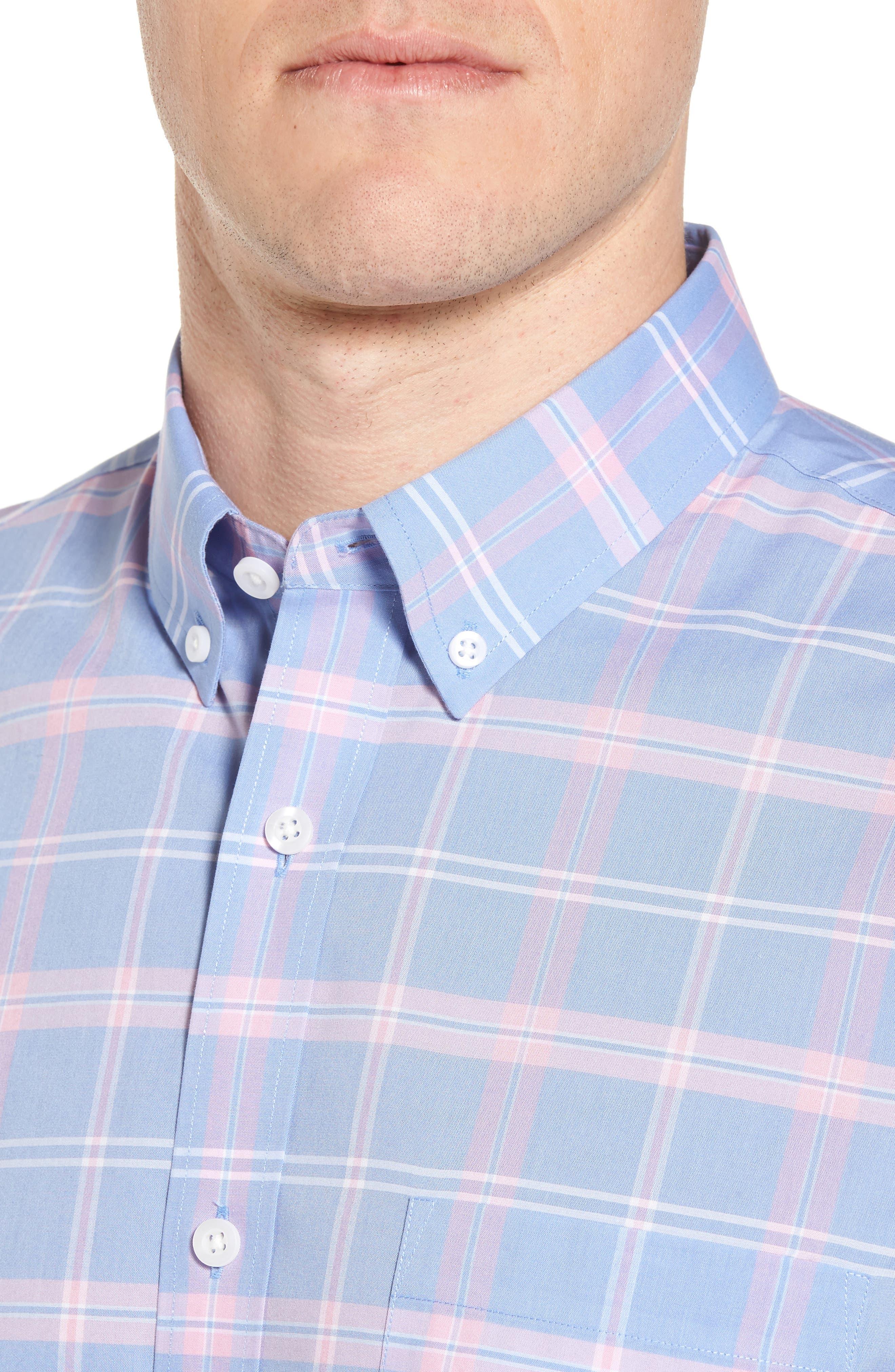 Smartcare<sup>™</sup> Regular Fit Plaid Sport Shirt,                             Alternate thumbnail 4, color,                             420