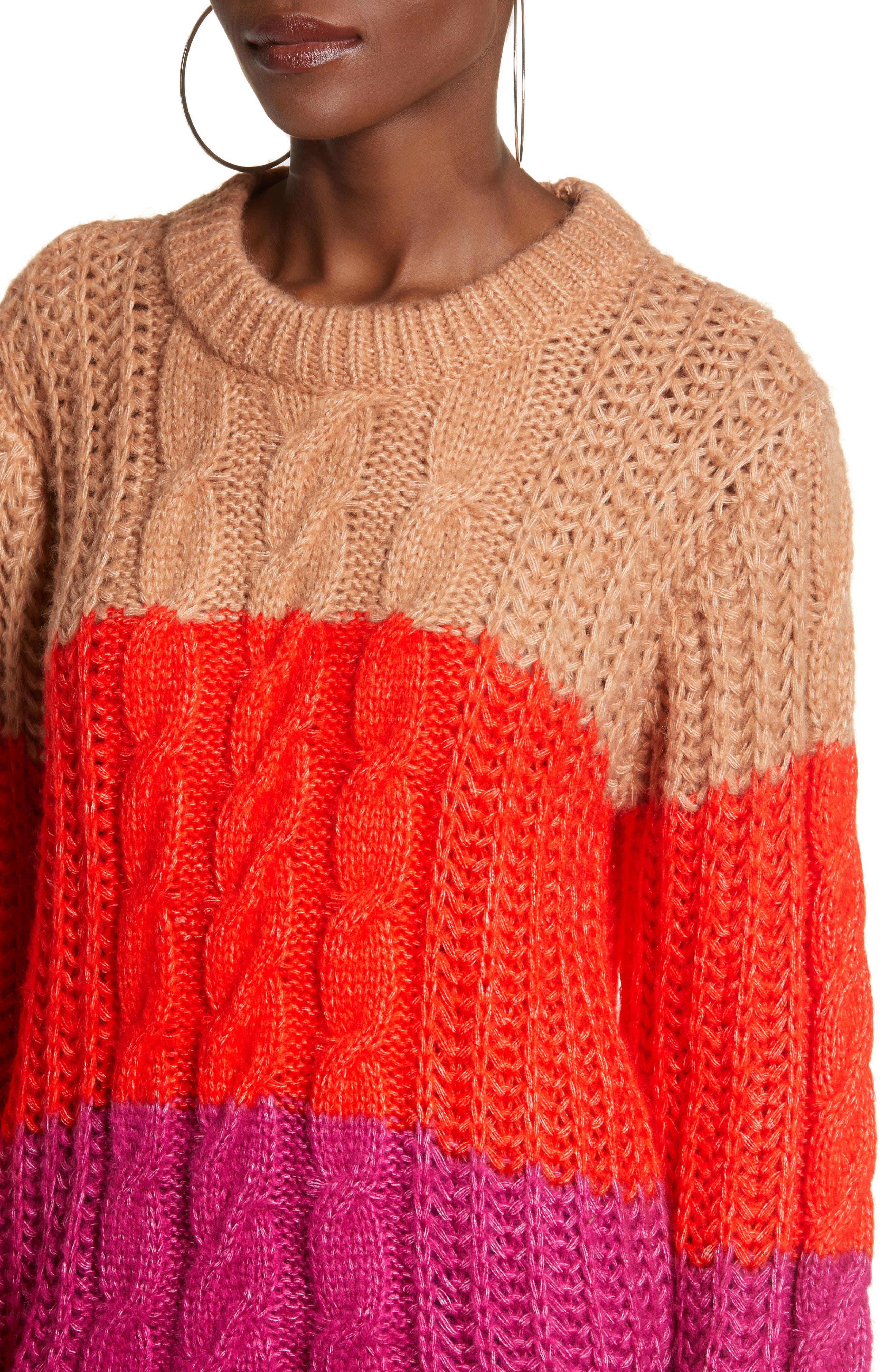 Becca Colorblock Chunky Cable Sweater,                             Alternate thumbnail 4, color,                             CAFE AU LAIT
