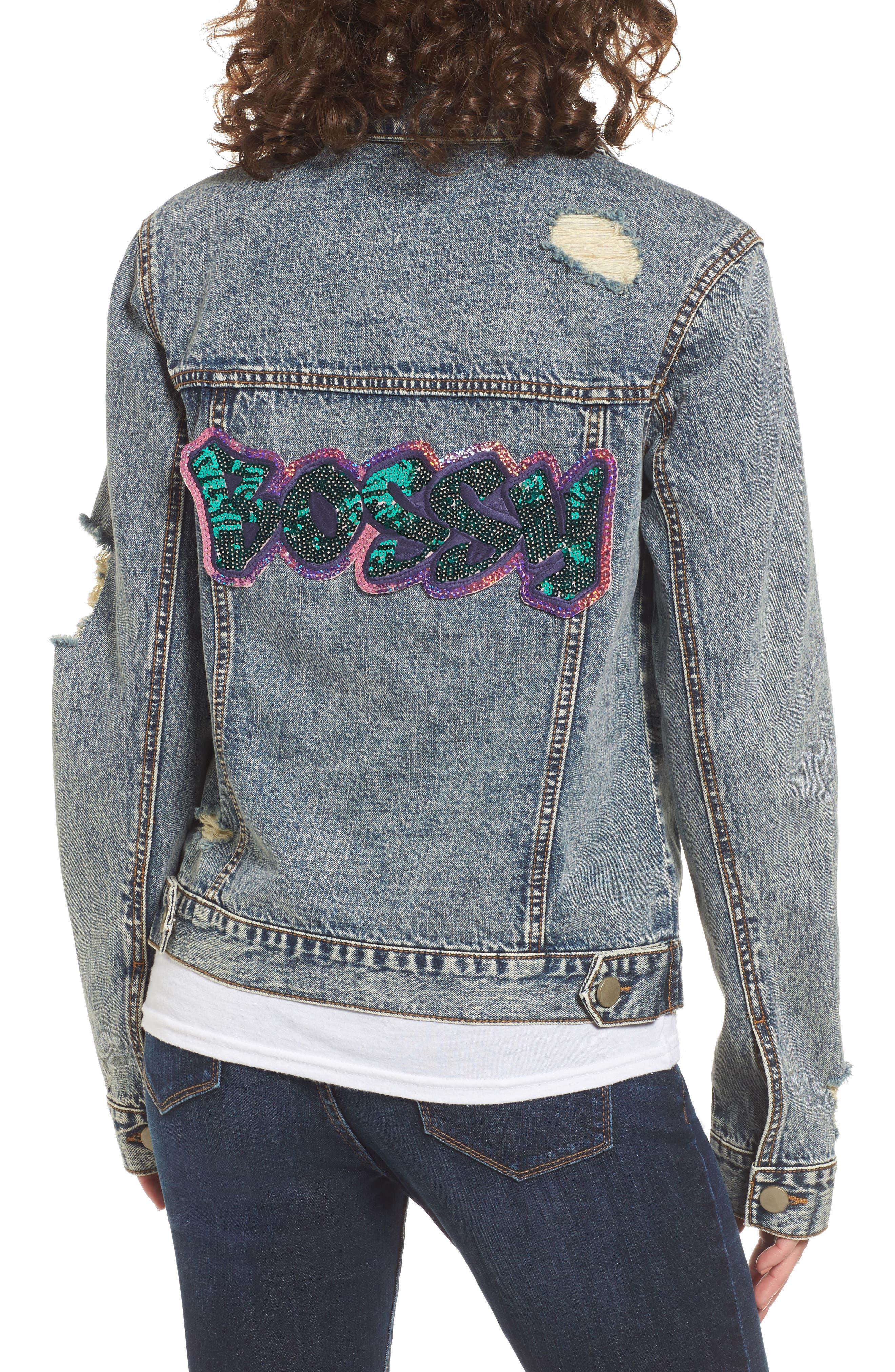 Bossy Embellished Denim Jacket,                             Alternate thumbnail 2, color,                             420