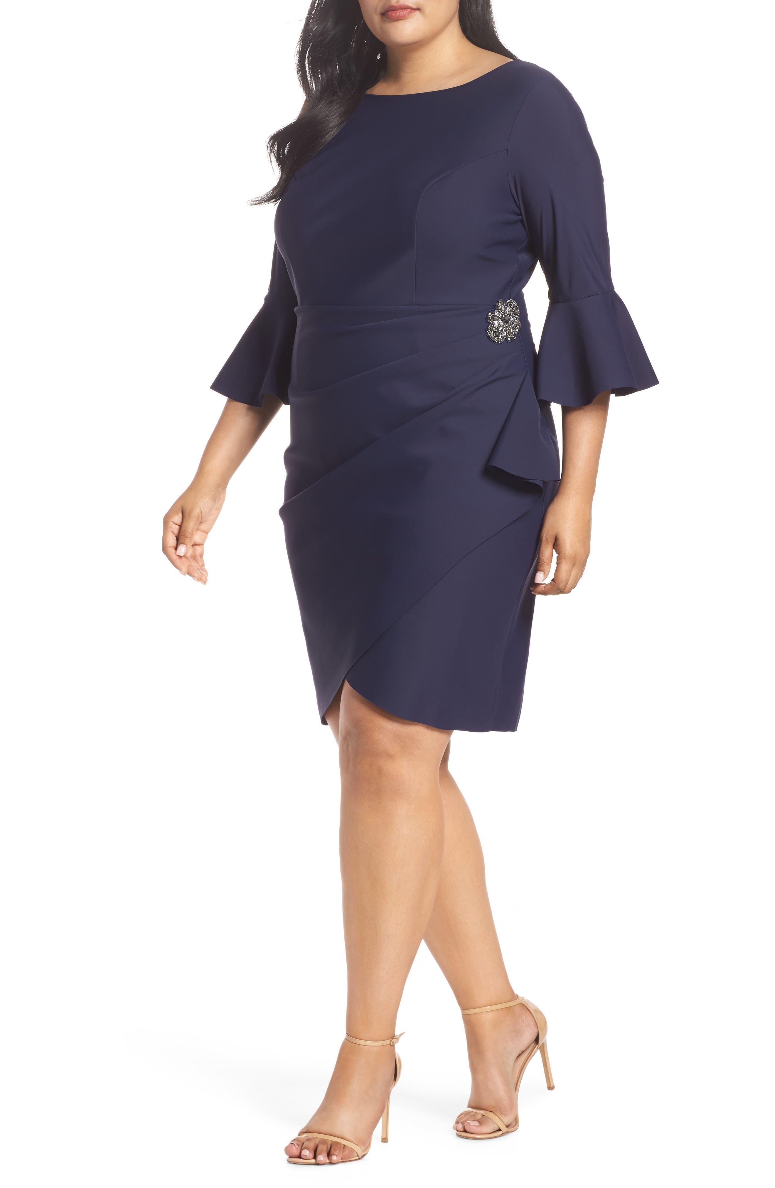 Plus Size Alex Evenings Bell Sleeve Sheath Dress, Blue